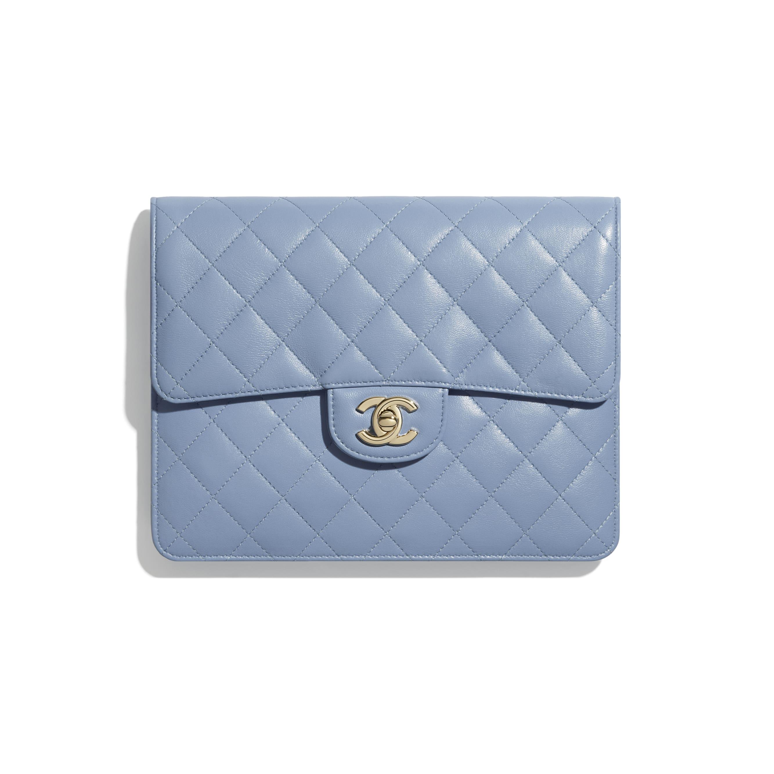 Flap Case - Sky Blue - Lambskin & Gold-Tone Metal - CHANEL - Default view - see standard sized version