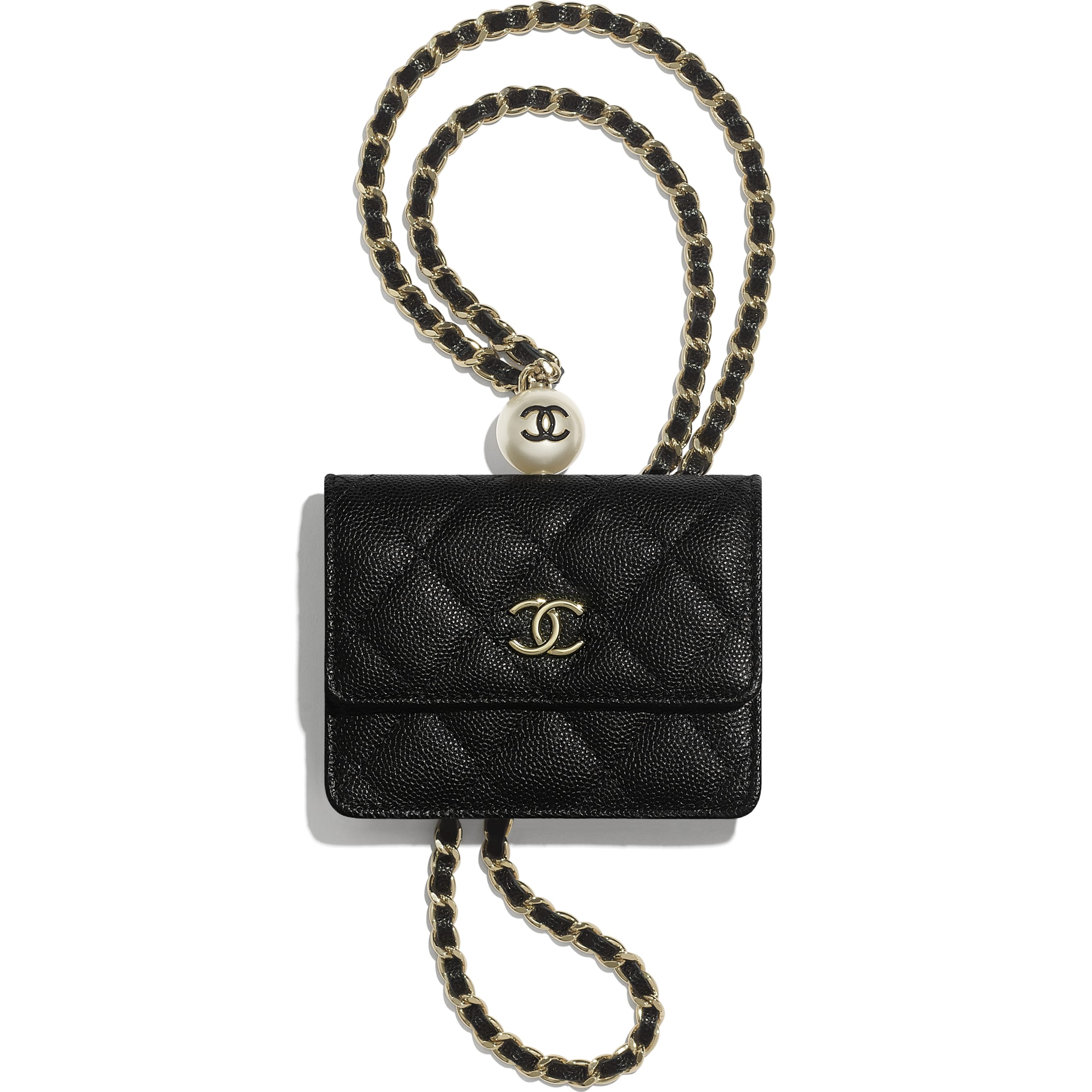 Flap Coin Purse with Chain - Black - Grained Calfskin, Imitation Pearl & Gold-Tone Metal - CHANEL - Default view - see standard sized version