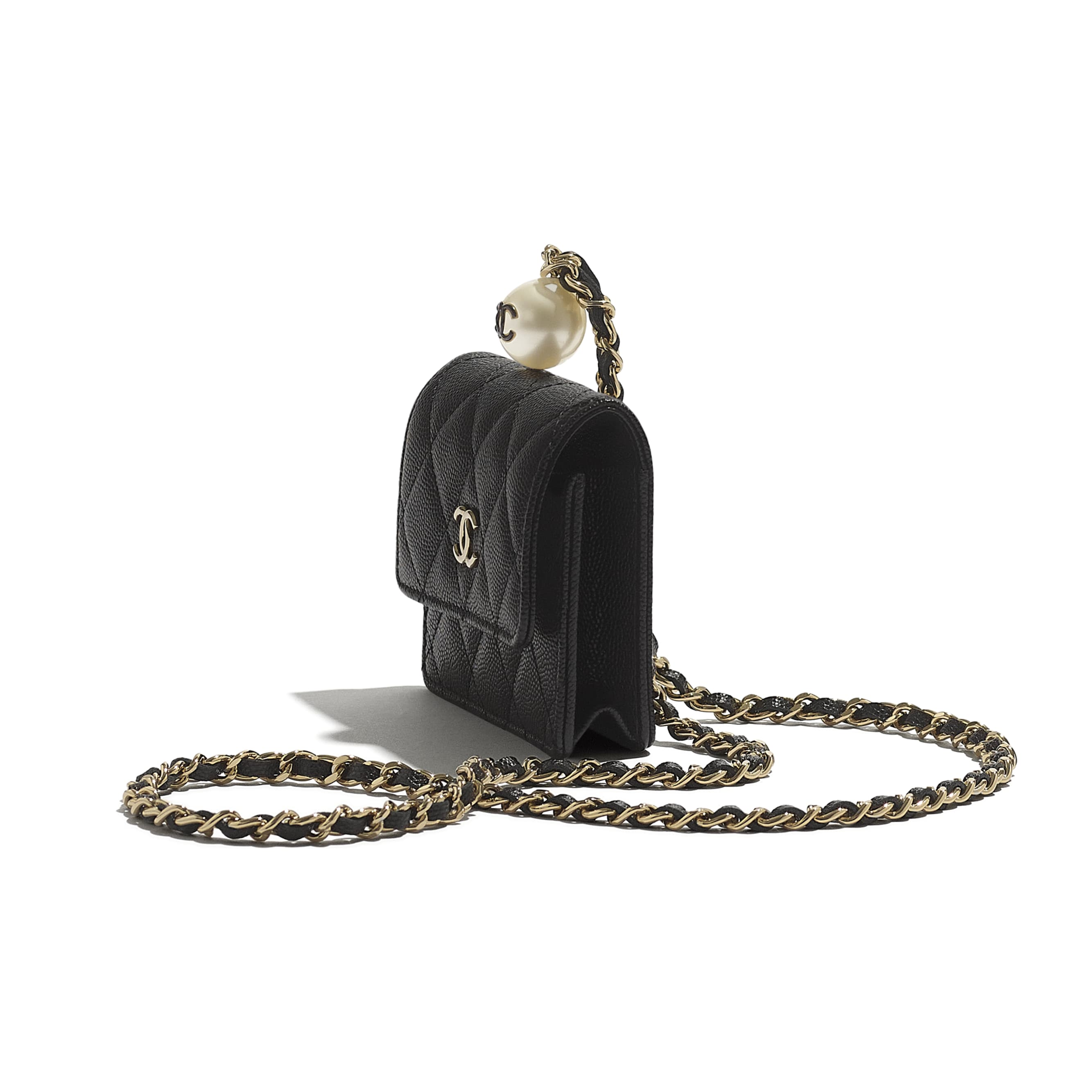 Flap Coin Purse with Chain - Black - Grained Calfskin, Imitation Pearl & Gold-Tone Metal - CHANEL - Other view - see standard sized version