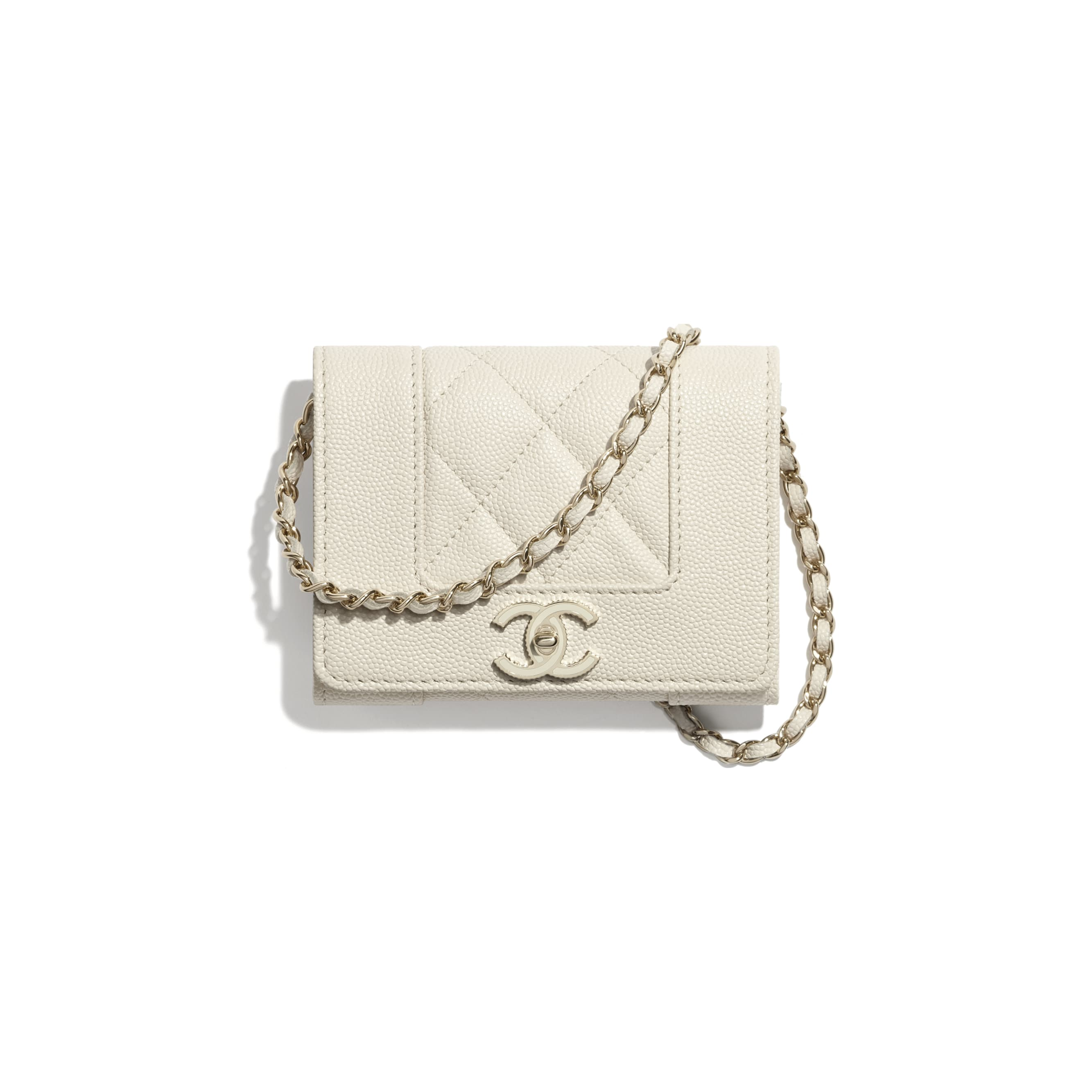 Flap Coin Purse with Chain - Ecru - Grained Lambskin, Lacquered & Gold-Tone Metal - CHANEL - Default view - see standard sized version