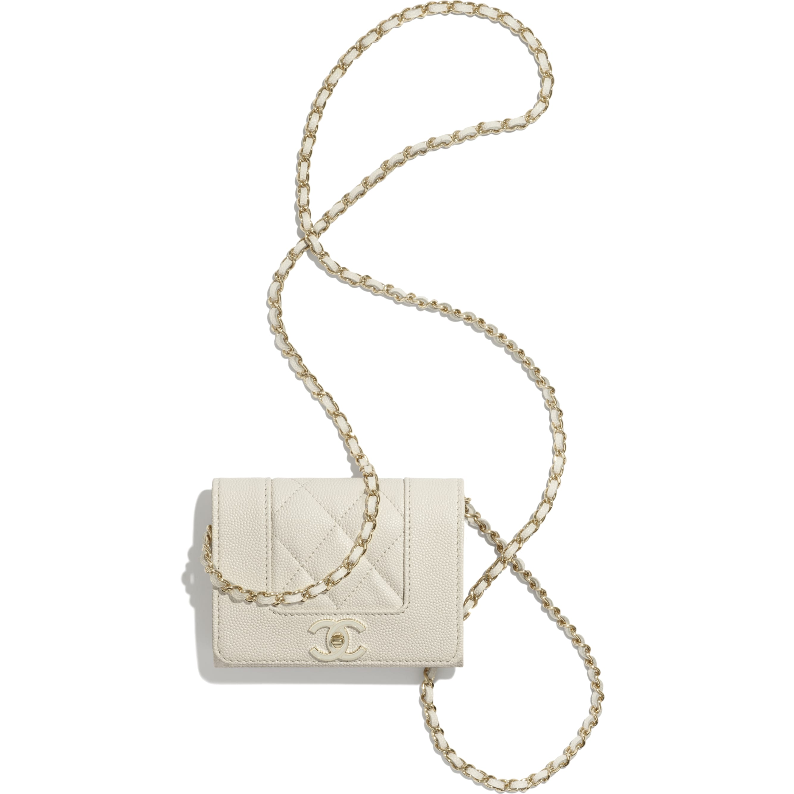 Flap Coin Purse with Chain - Ecru - Grained Lambskin, Lacquered & Gold-Tone Metal - CHANEL - Other view - see standard sized version