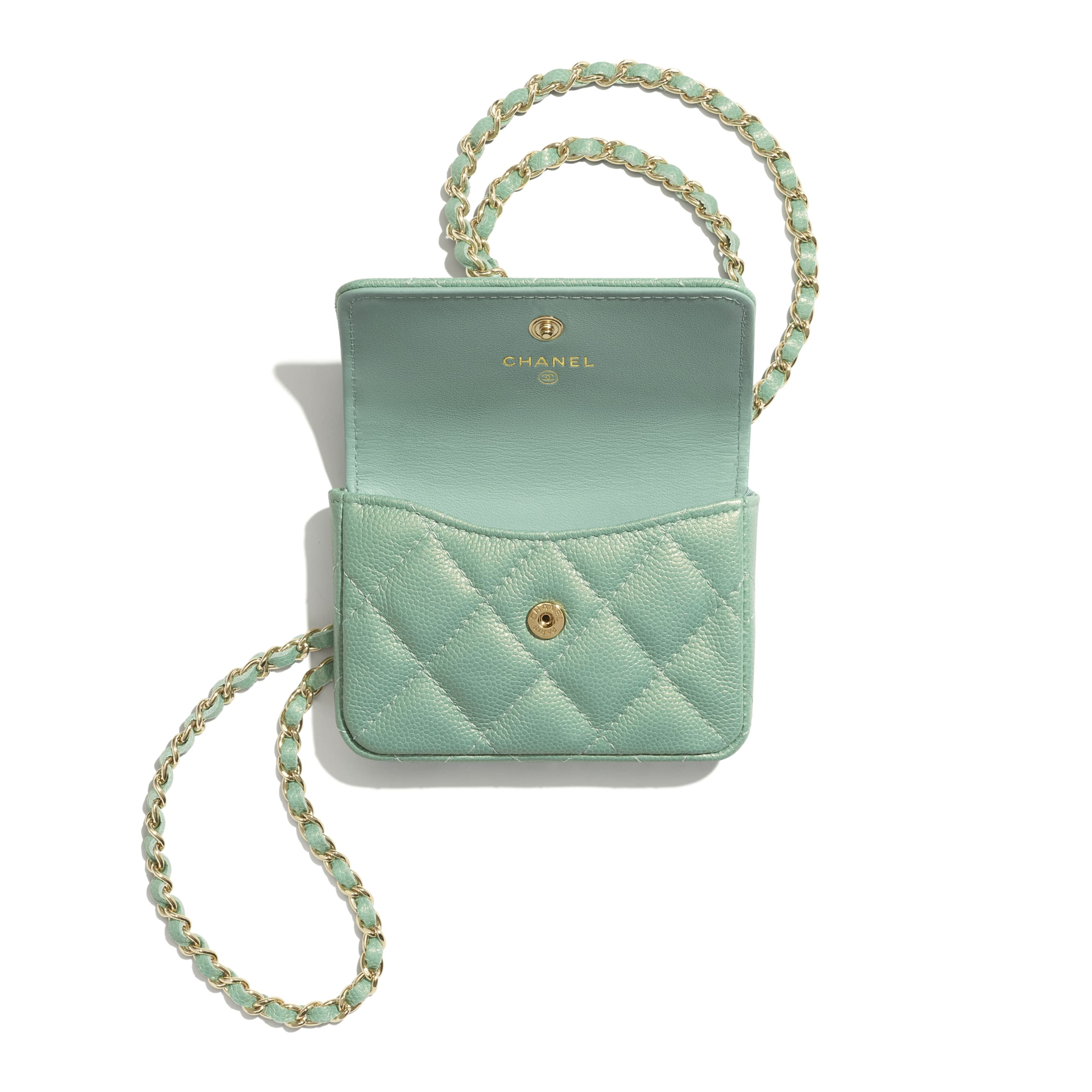 Flap Coin Purse with Chain - Green - Iridescent Grained Calfskin, Imitation Pearls & Gold-Tone Metal - CHANEL - Alternative view - see standard sized version