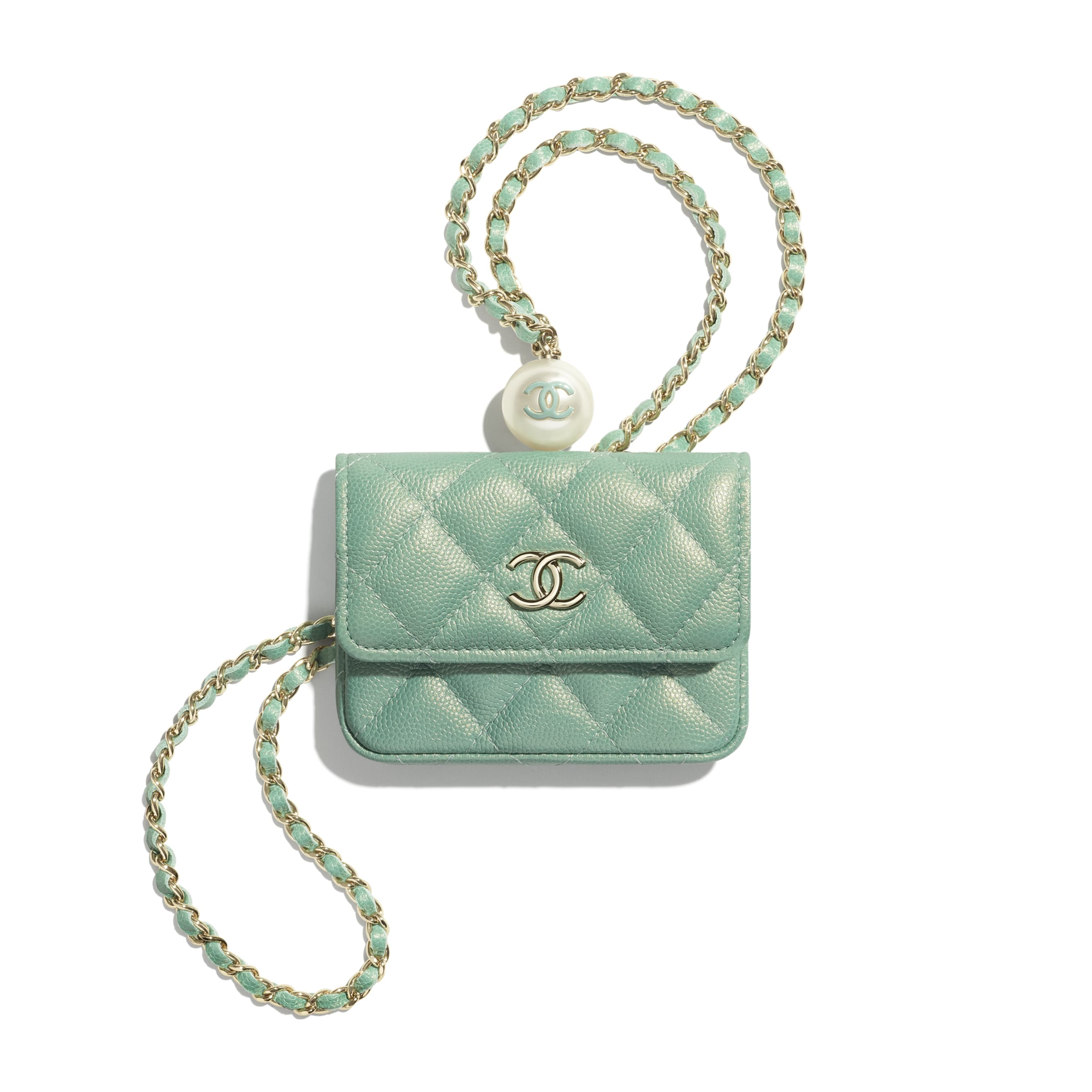 Flap Coin Purse with Chain - Green - Iridescent Grained Calfskin, Imitation Pearls & Gold-Tone Metal - CHANEL - Default view - see standard sized version