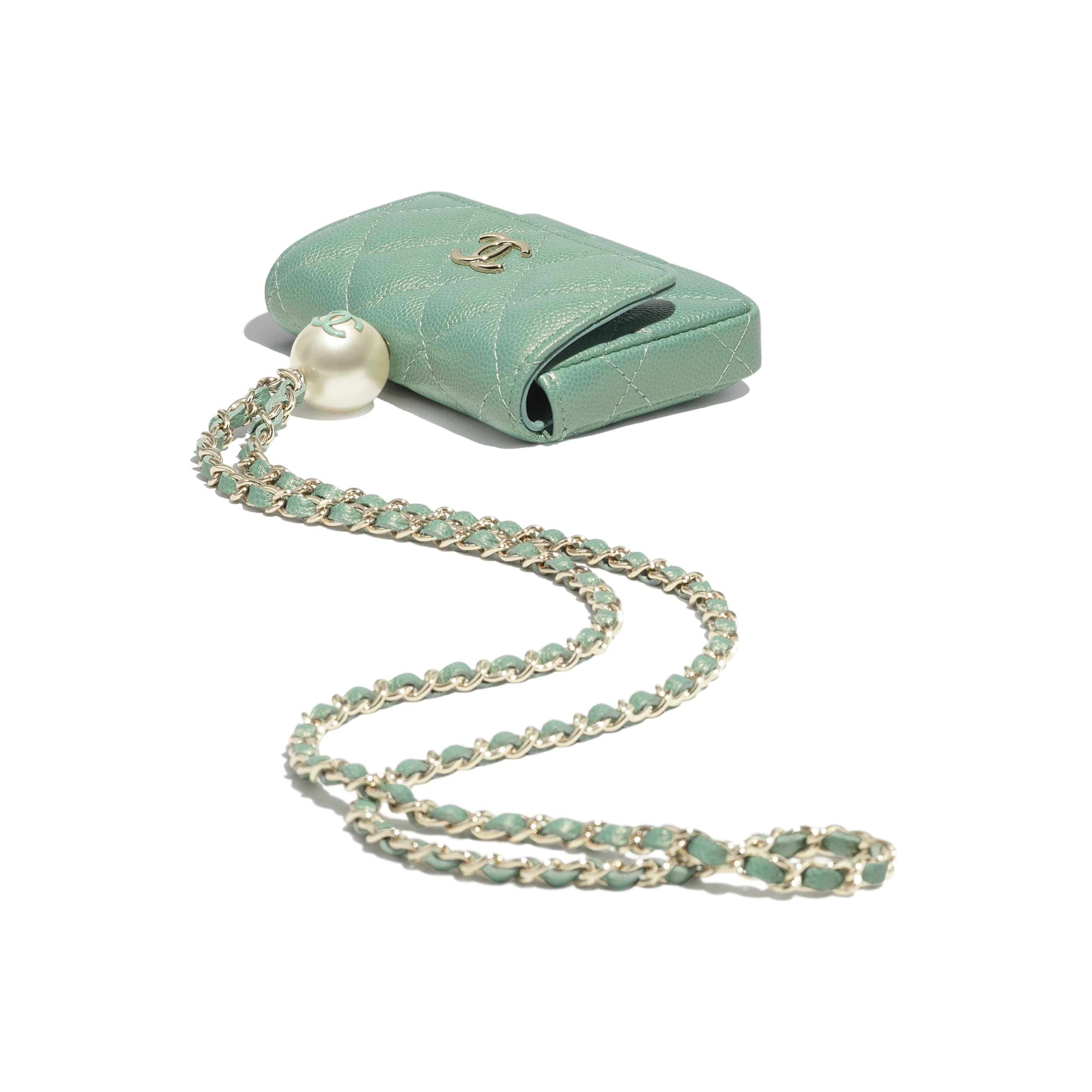 Flap Coin Purse with Chain - Green - Iridescent Grained Calfskin, Imitation Pearls & Gold-Tone Metal - CHANEL - Extra view - see standard sized version