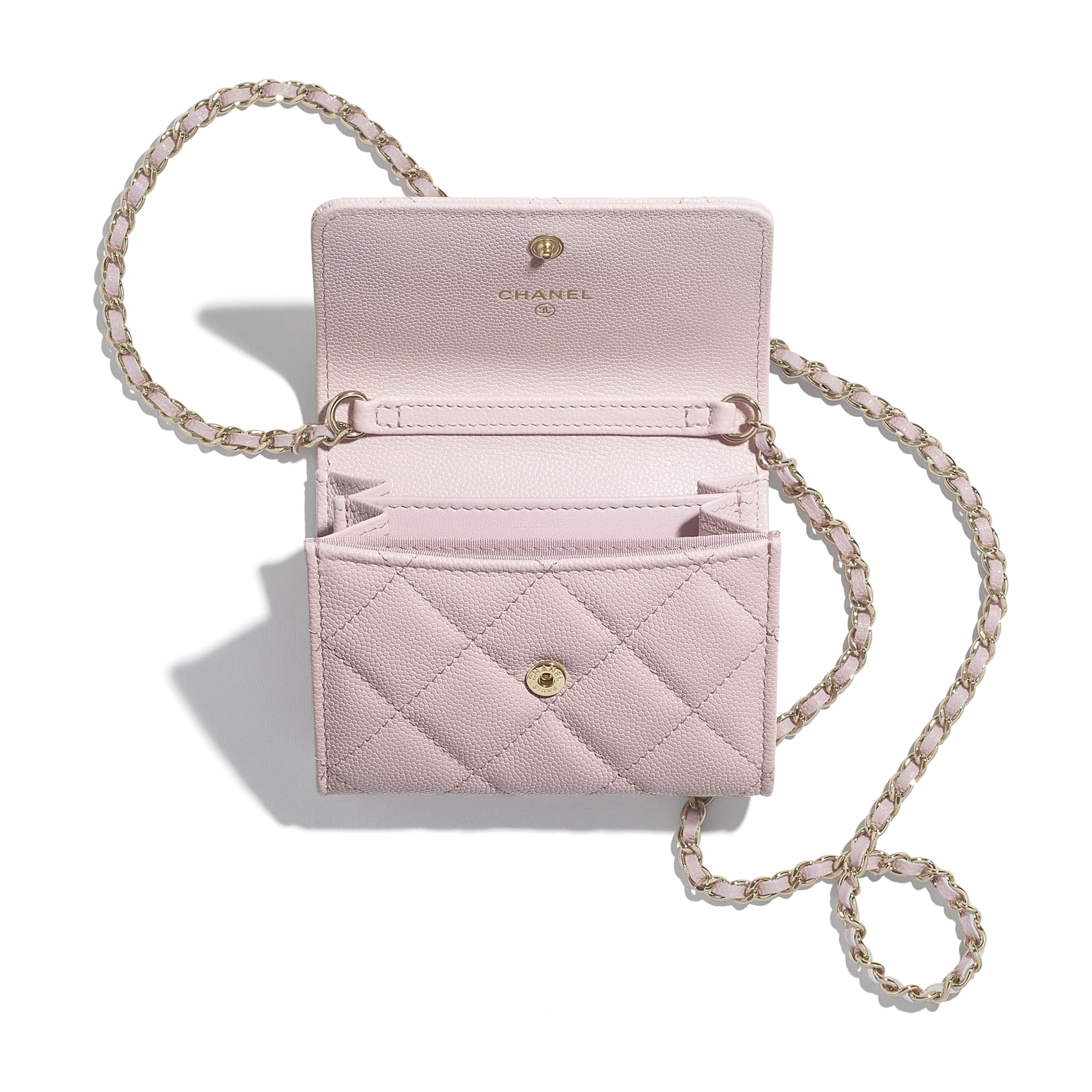 Flap Coin Purse with Chain - Light Pink - Grained Calfskin & Gold-Tone Metal - CHANEL - Alternative view - see standard sized version