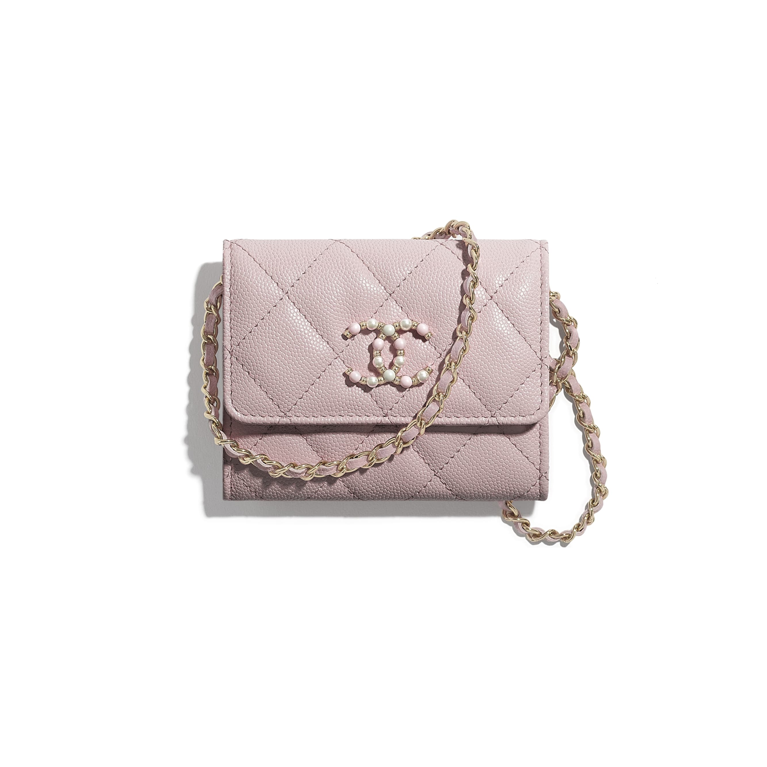 Flap Coin Purse with Chain - Light Pink - Grained Calfskin & Gold-Tone Metal - CHANEL - Default view - see standard sized version