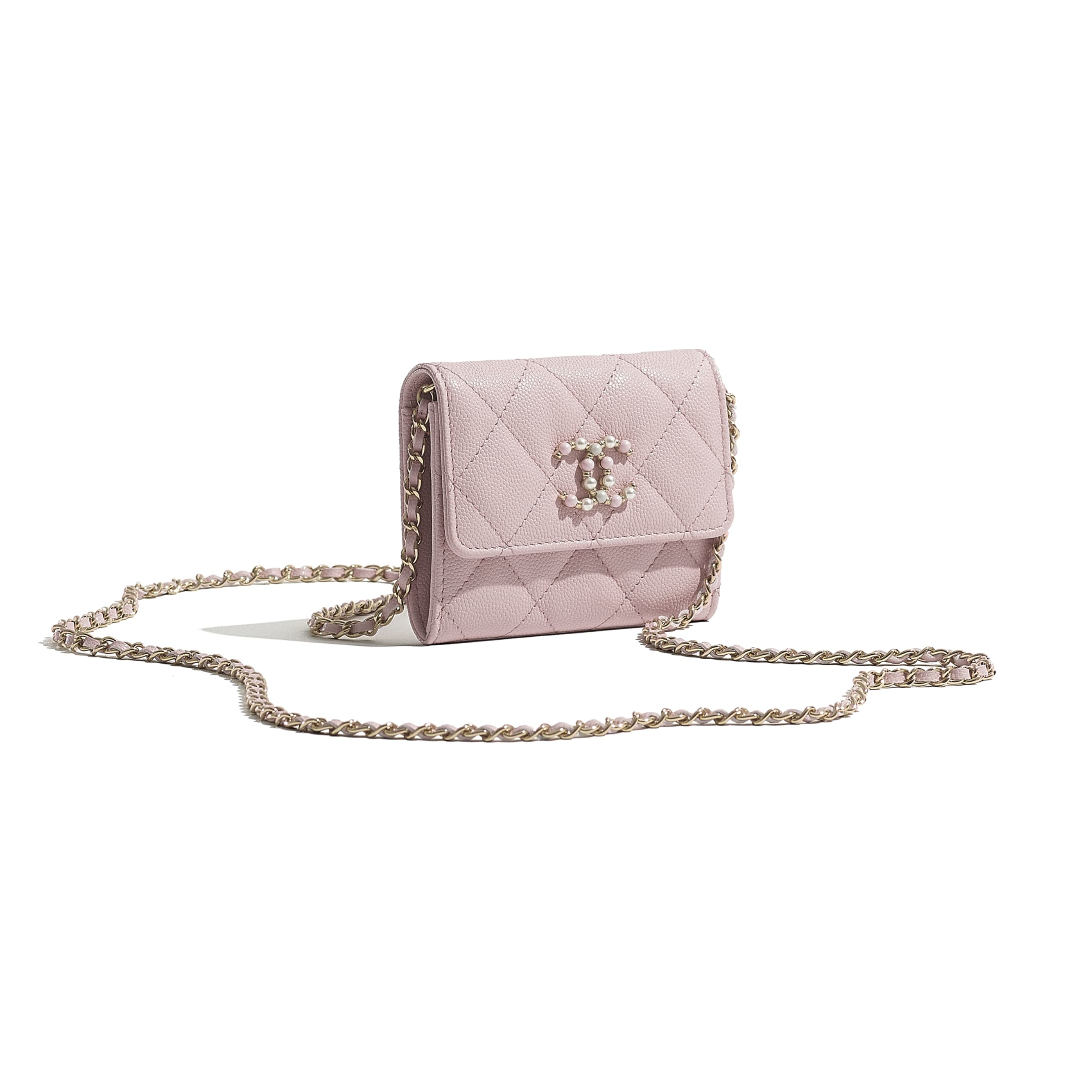 Flap Coin Purse with Chain - Light Pink - Grained Calfskin & Gold-Tone Metal - CHANEL - Extra view - see standard sized version
