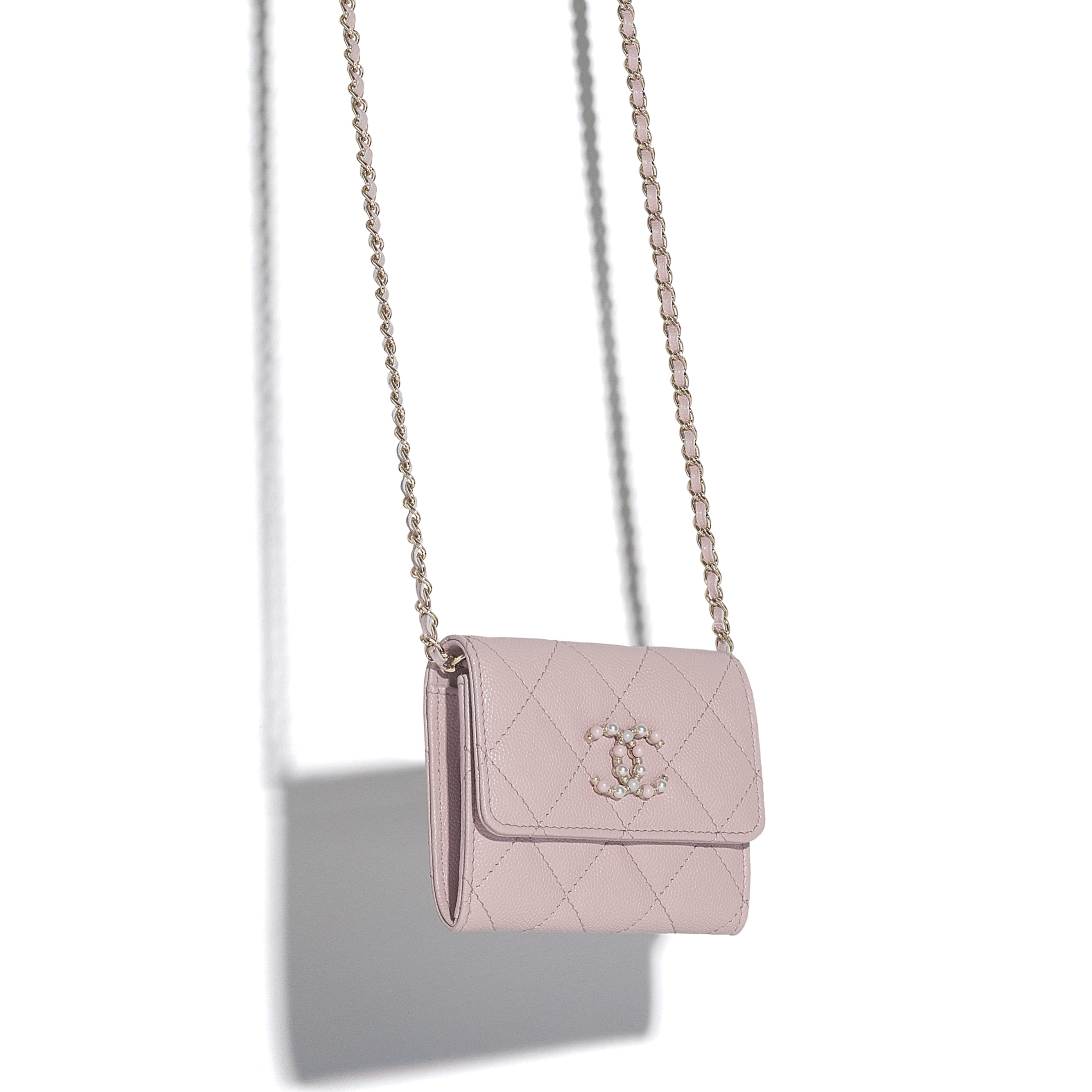 Flap Coin Purse with Chain - Light Pink - Grained Calfskin & Gold-Tone Metal - CHANEL - Other view - see standard sized version