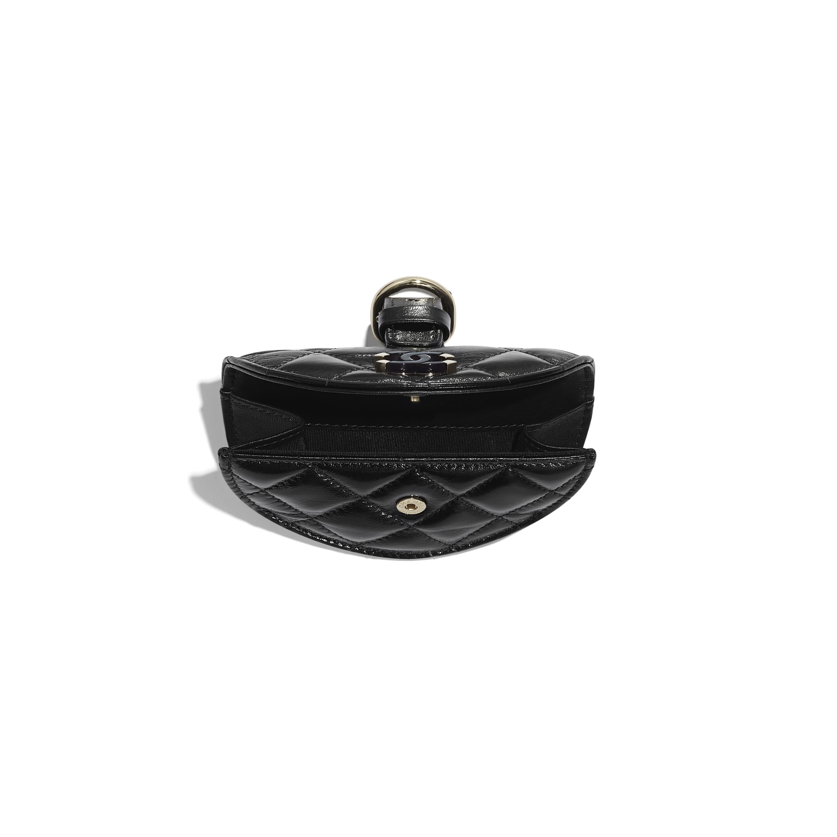 Flap Coin Purse Wristlet - Black - Shiny Crumpled Lambskin, Resin & Gold-Tone Metal - CHANEL - Other view - see standard sized version