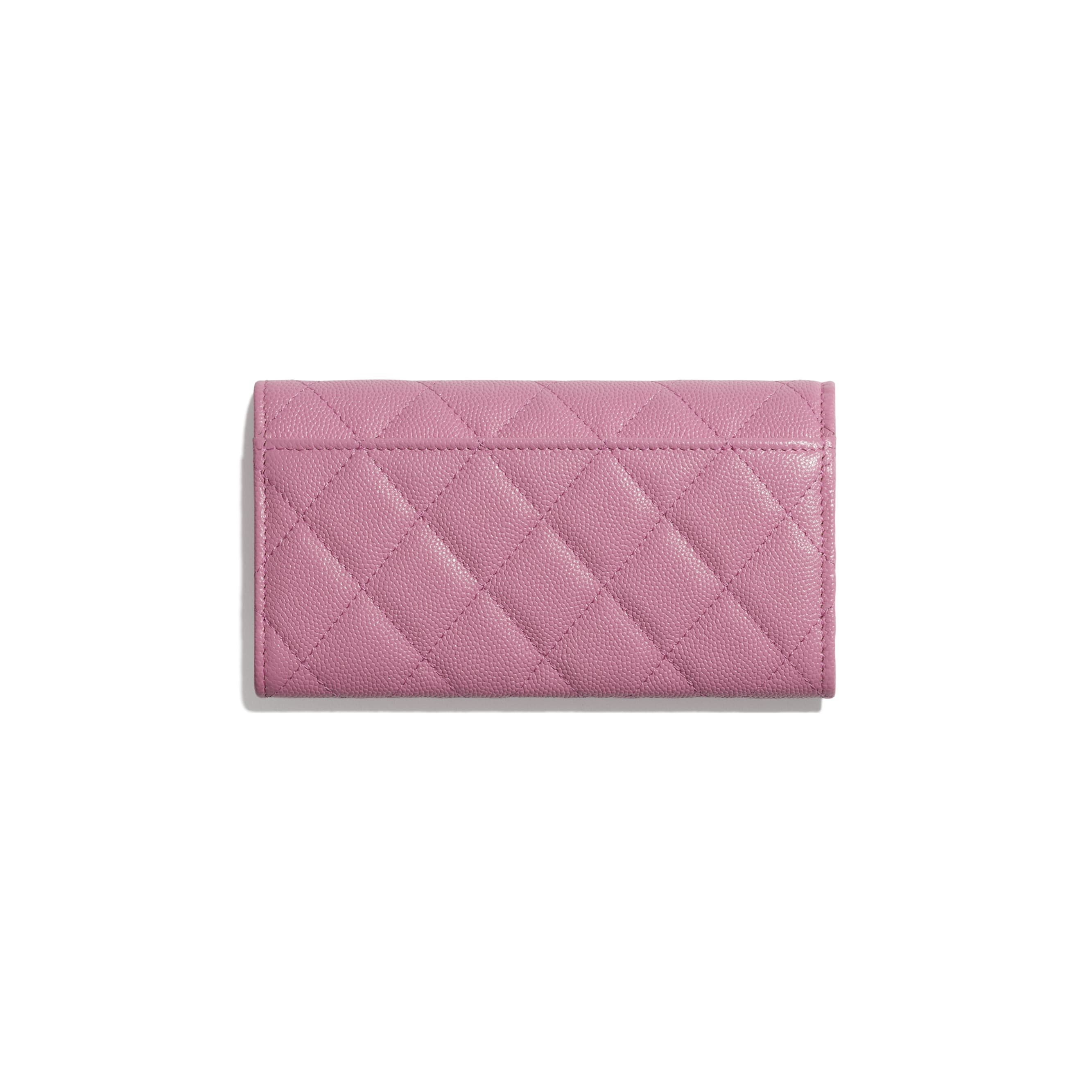Flap Wallet - Pink - Grained Calfskin & Laquered Gold-Tone Metal - CHANEL - Alternative view - see standard sized version