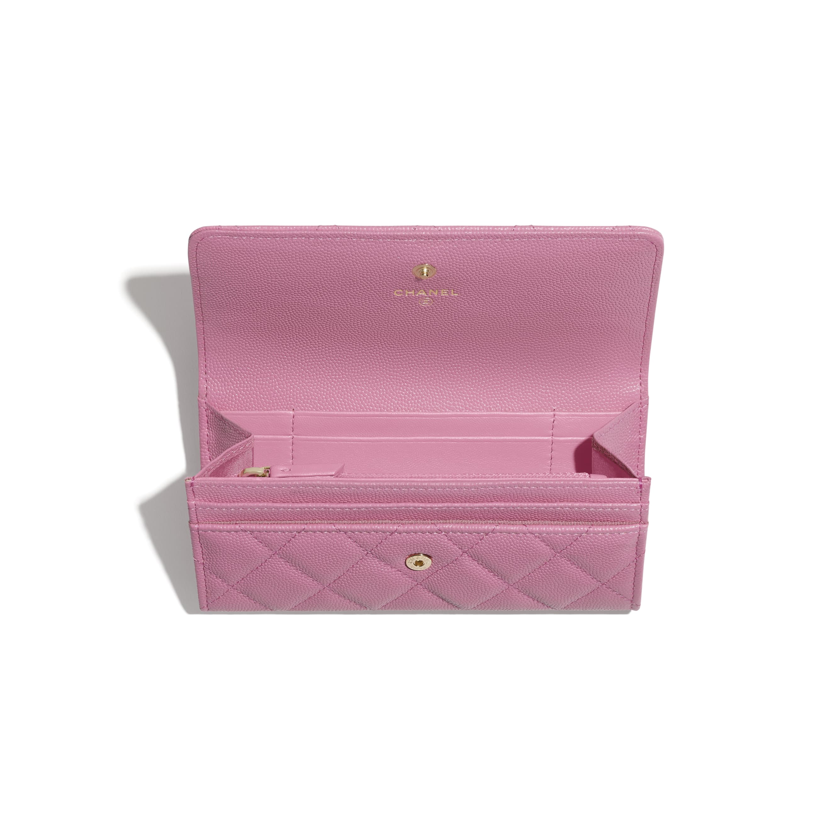 Flap Wallet - Pink - Grained Calfskin & Laquered Gold-Tone Metal - CHANEL - Other view - see standard sized version