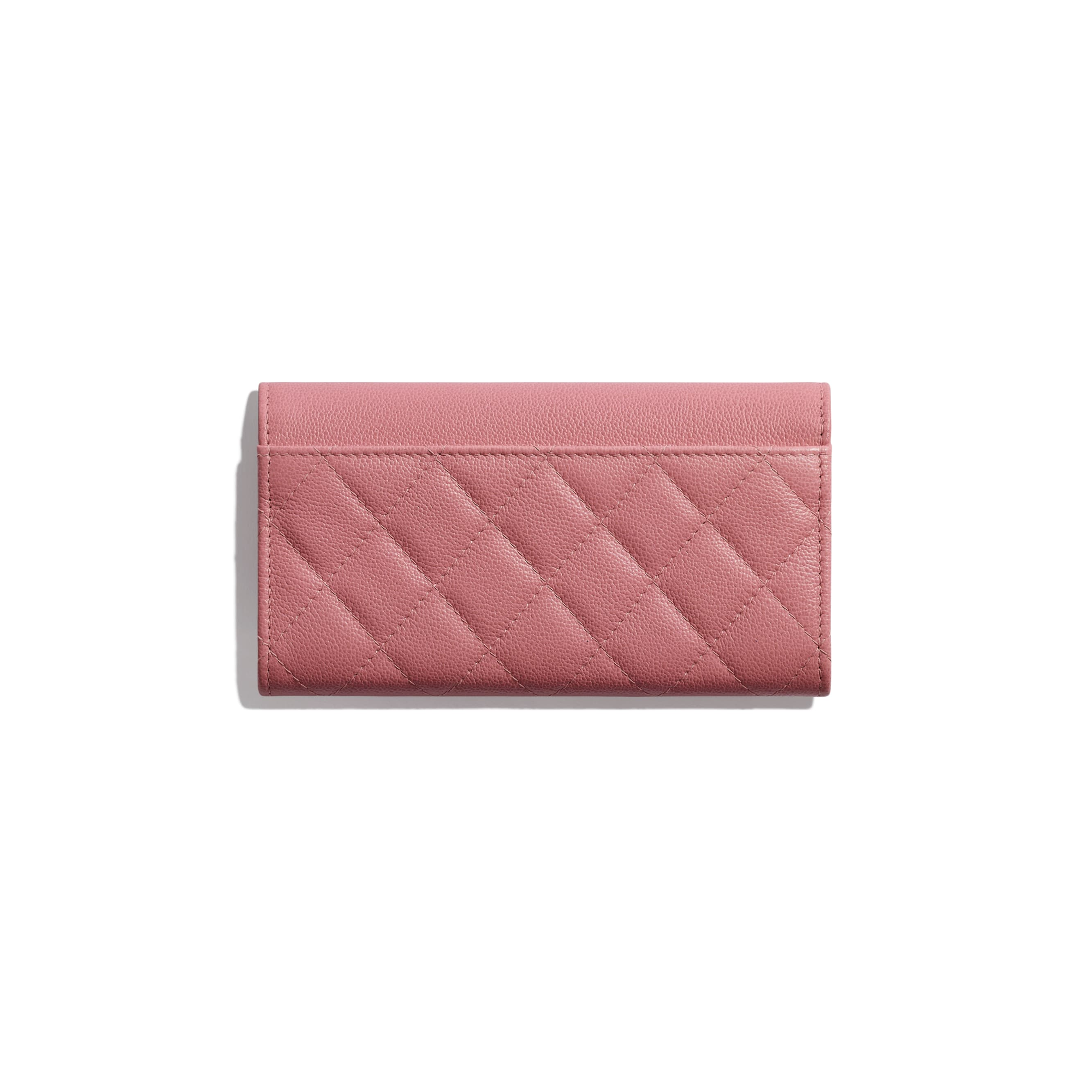 Flap Wallet - Pink - Grained Calfskin & Silver Metal - CHANEL - Alternative view - see standard sized version