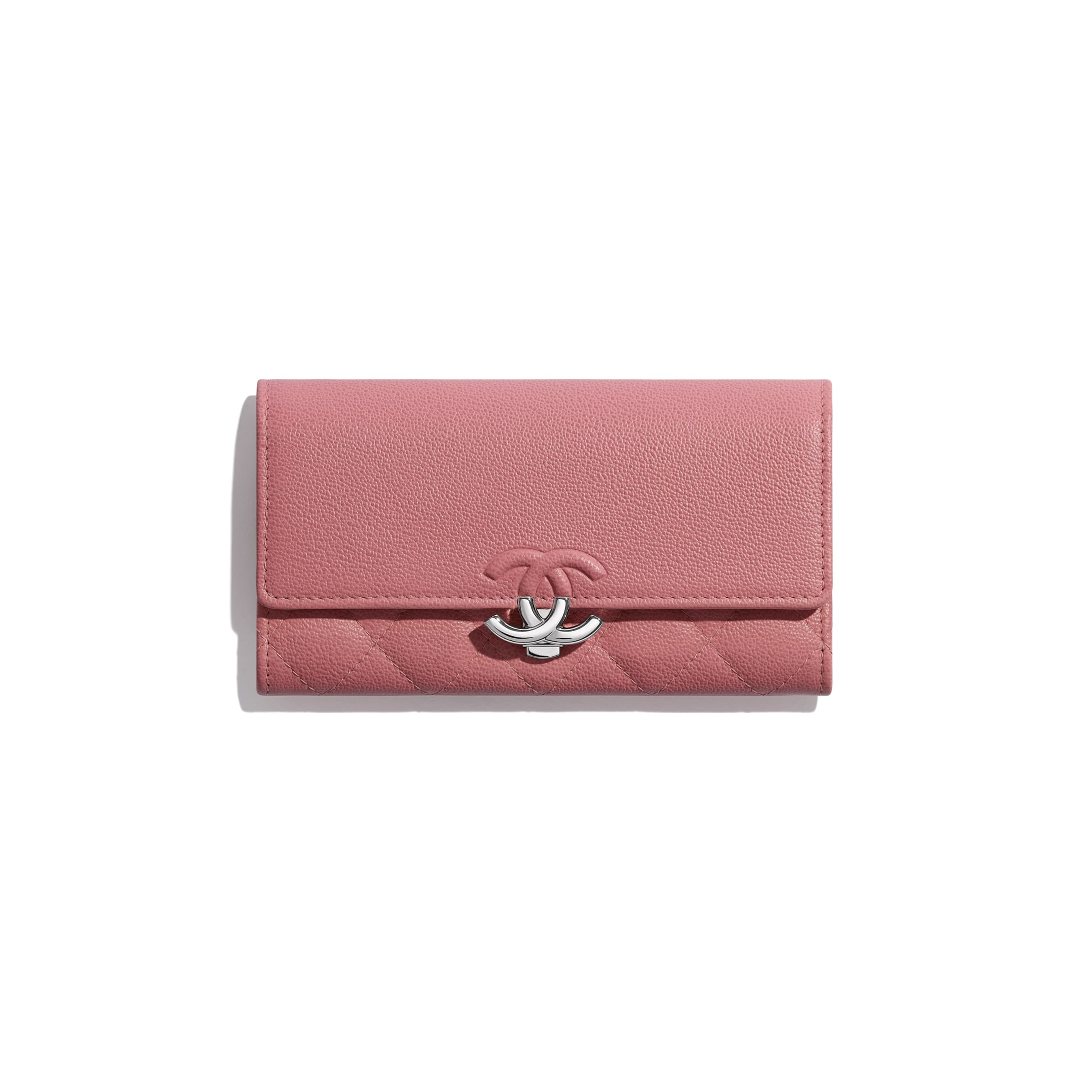 Flap Wallet - Pink - Grained Calfskin & Silver Metal - CHANEL - Default view - see standard sized version