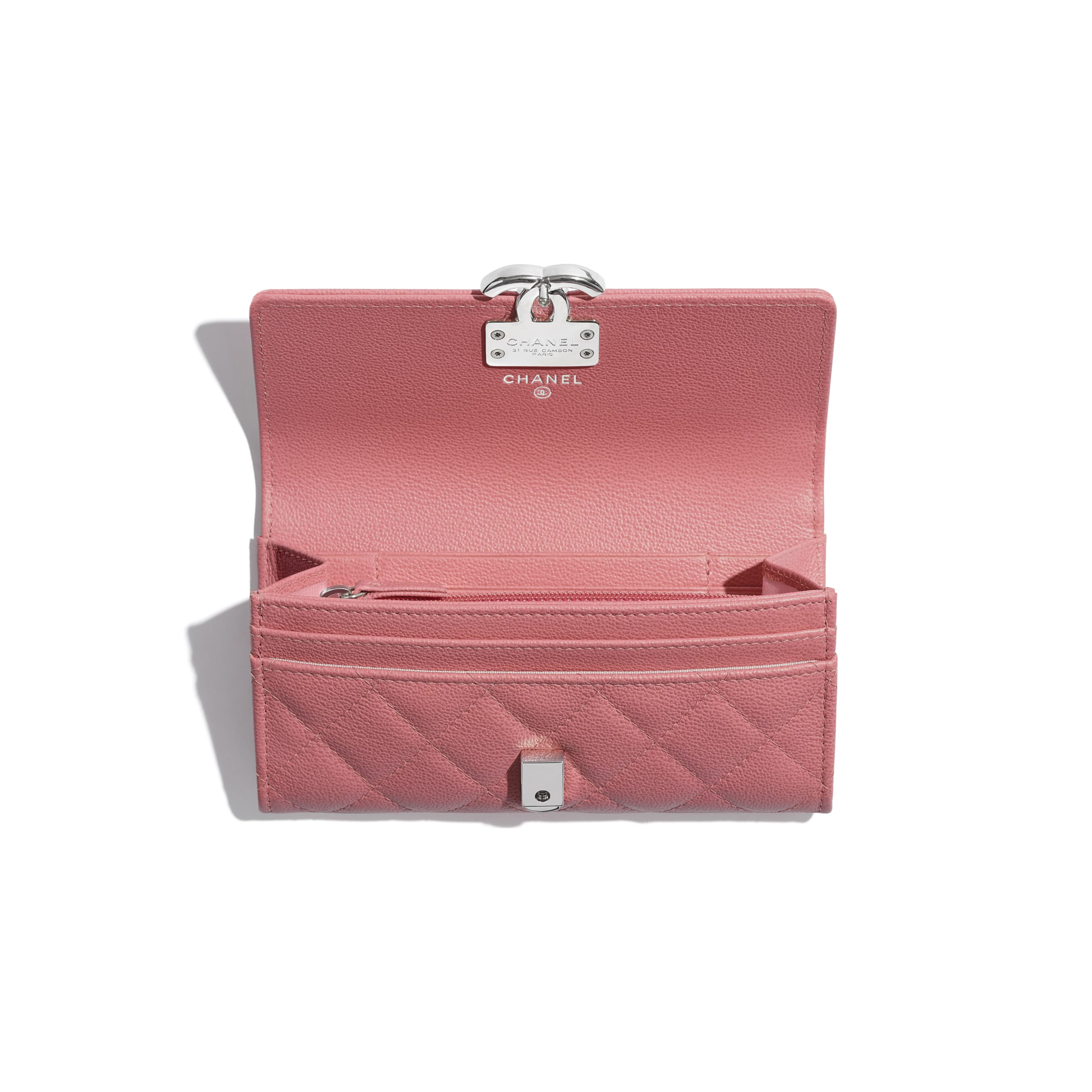 Flap Wallet - Pink - Grained Calfskin & Silver Metal - CHANEL - Other view - see standard sized version