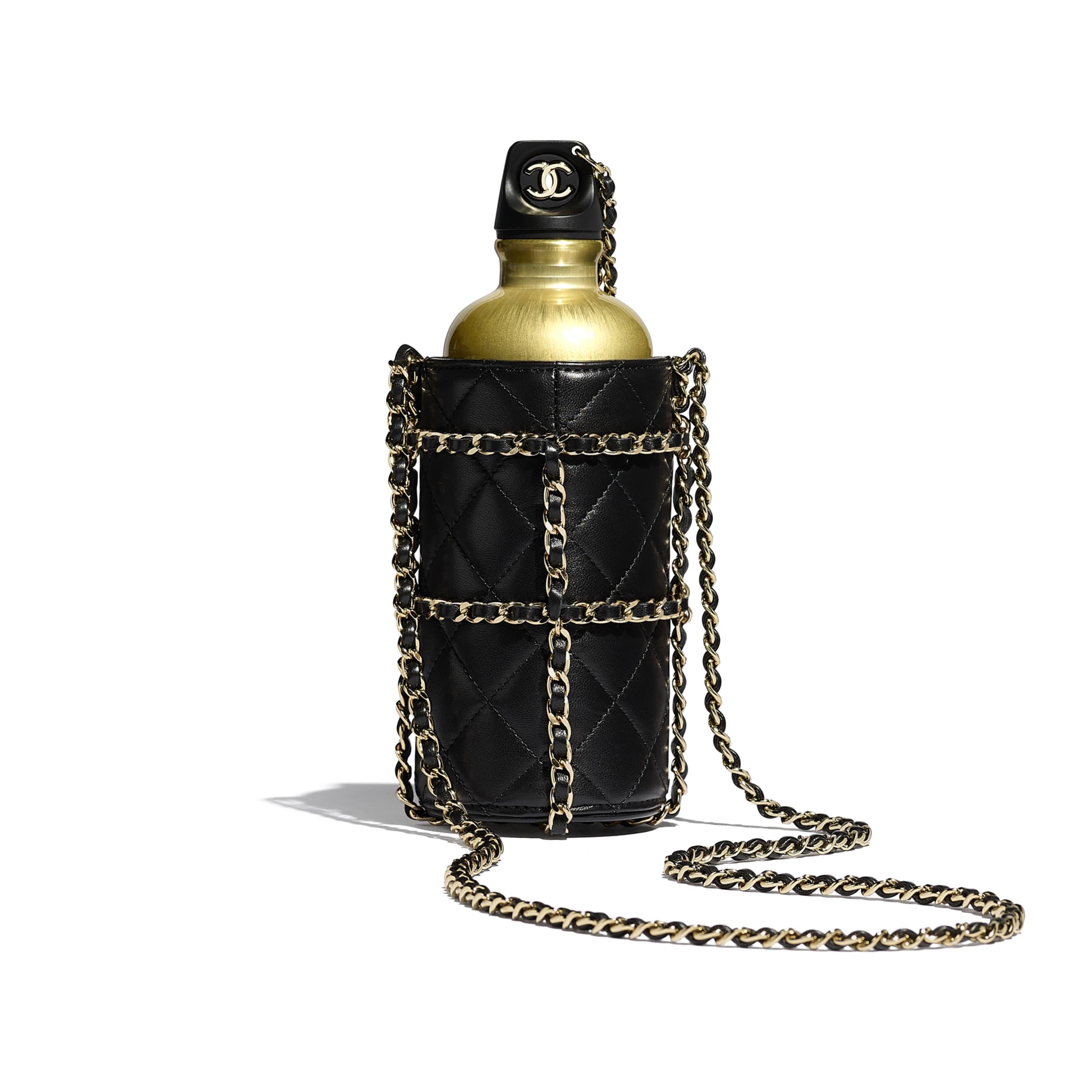 Flask Bag - Black - Lambskin, Black & Gold-Tone Metal - Alternative view - see standard sized version