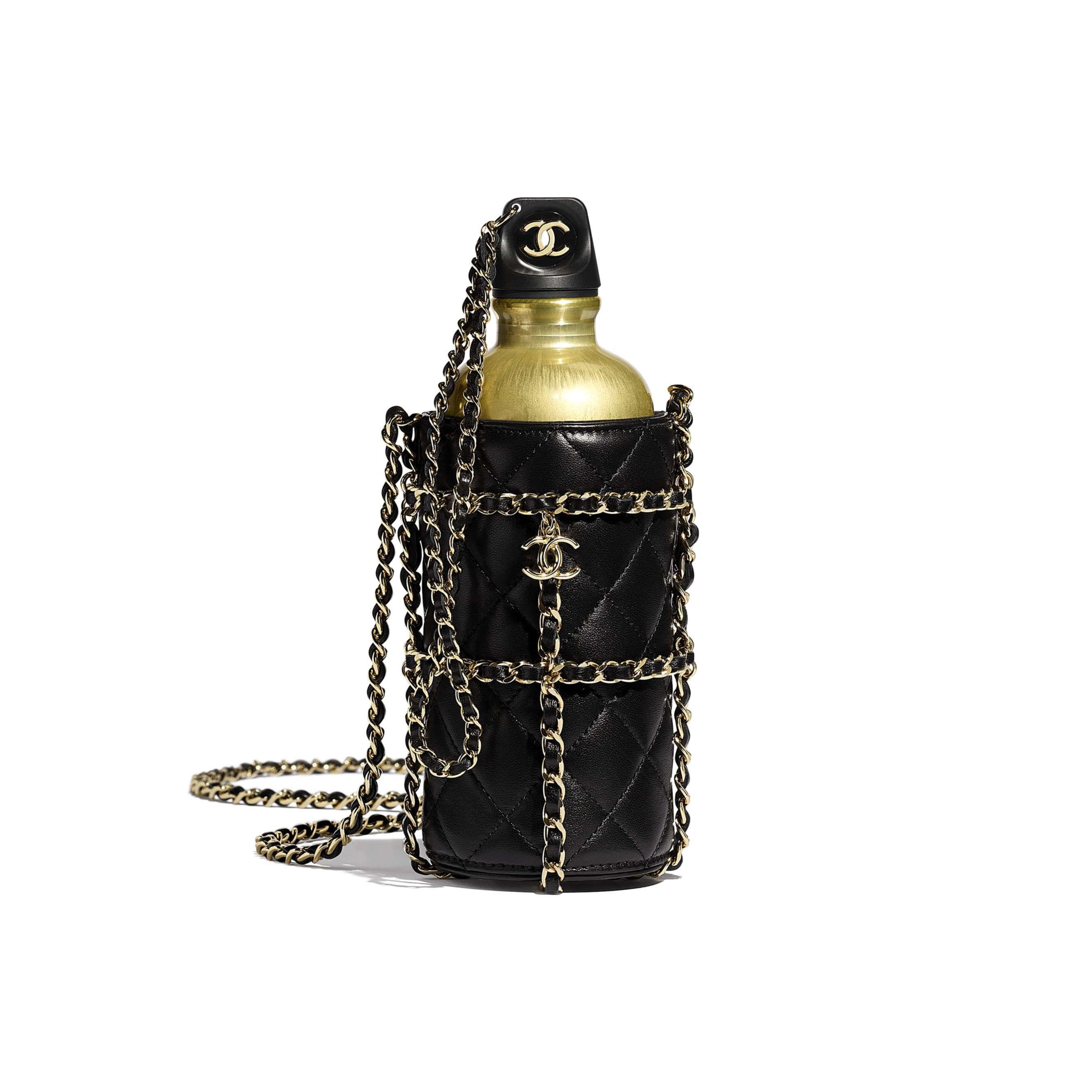 Flask Bag - Black - Lambskin, Black & Gold-Tone Metal - Default view - see standard sized version