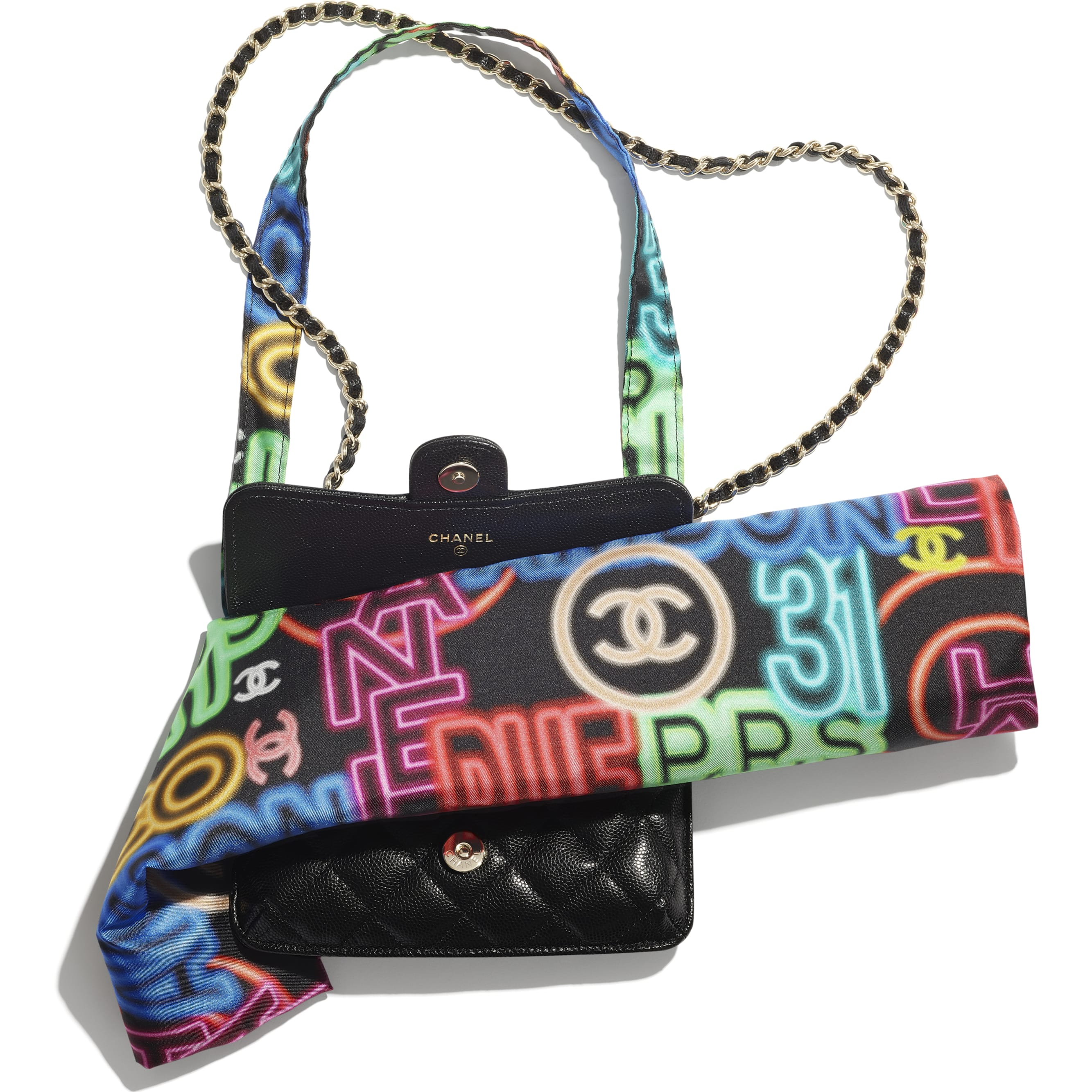 Foldable Tote Bag with Chain - Black & Multicolor - Printed Fabric, Grained Calfskin & Gold-Tone Metal - CHANEL - Alternative view - see standard sized version