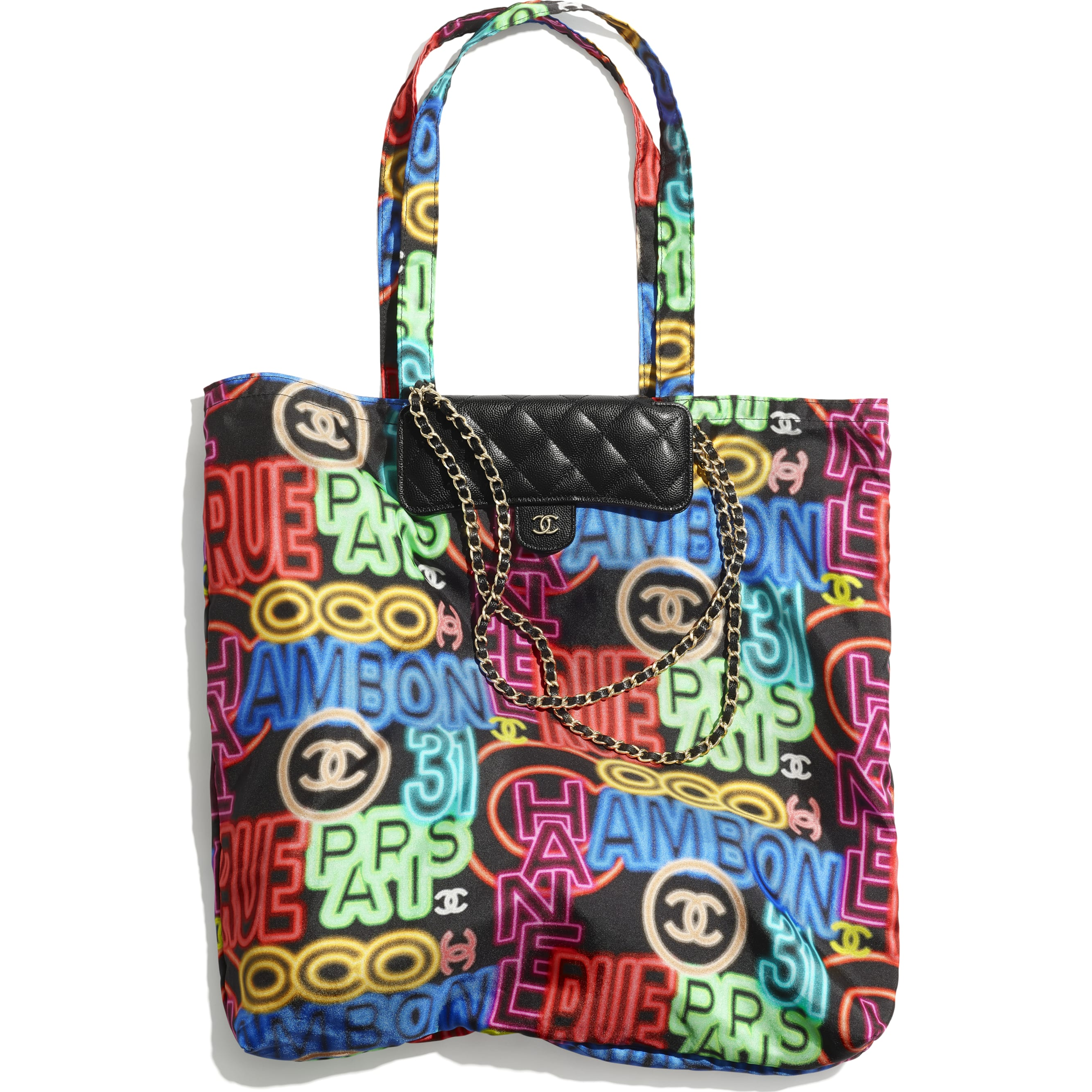 Foldable Tote Bag with Chain - Black & Multicolor - Printed Fabric, Grained Calfskin & Gold-Tone Metal - CHANEL - Default view - see standard sized version