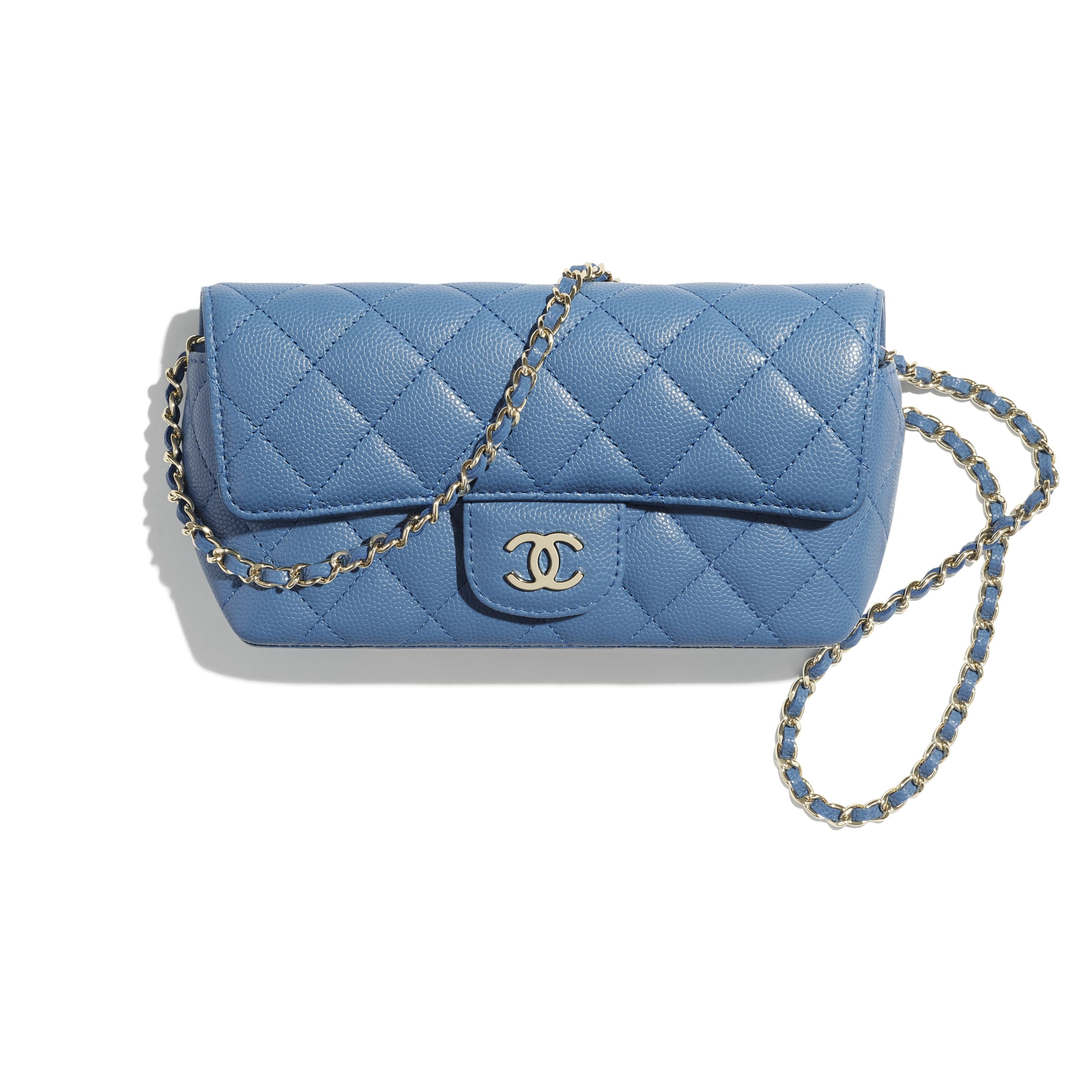 Glasses Case with Classic Chain - Blue - Grained Calfskin & Gold-Tone Metal - CHANEL - Default view - see standard sized version