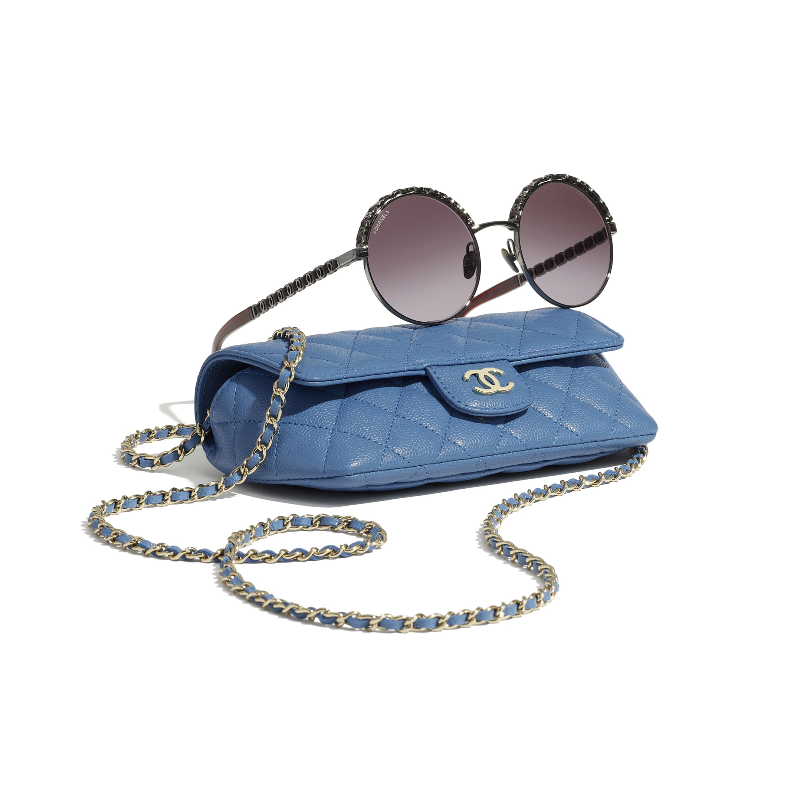 Glasses Case with Classic Chain - Blue - Grained Calfskin & Gold-Tone Metal - CHANEL - Extra view - see standard sized version