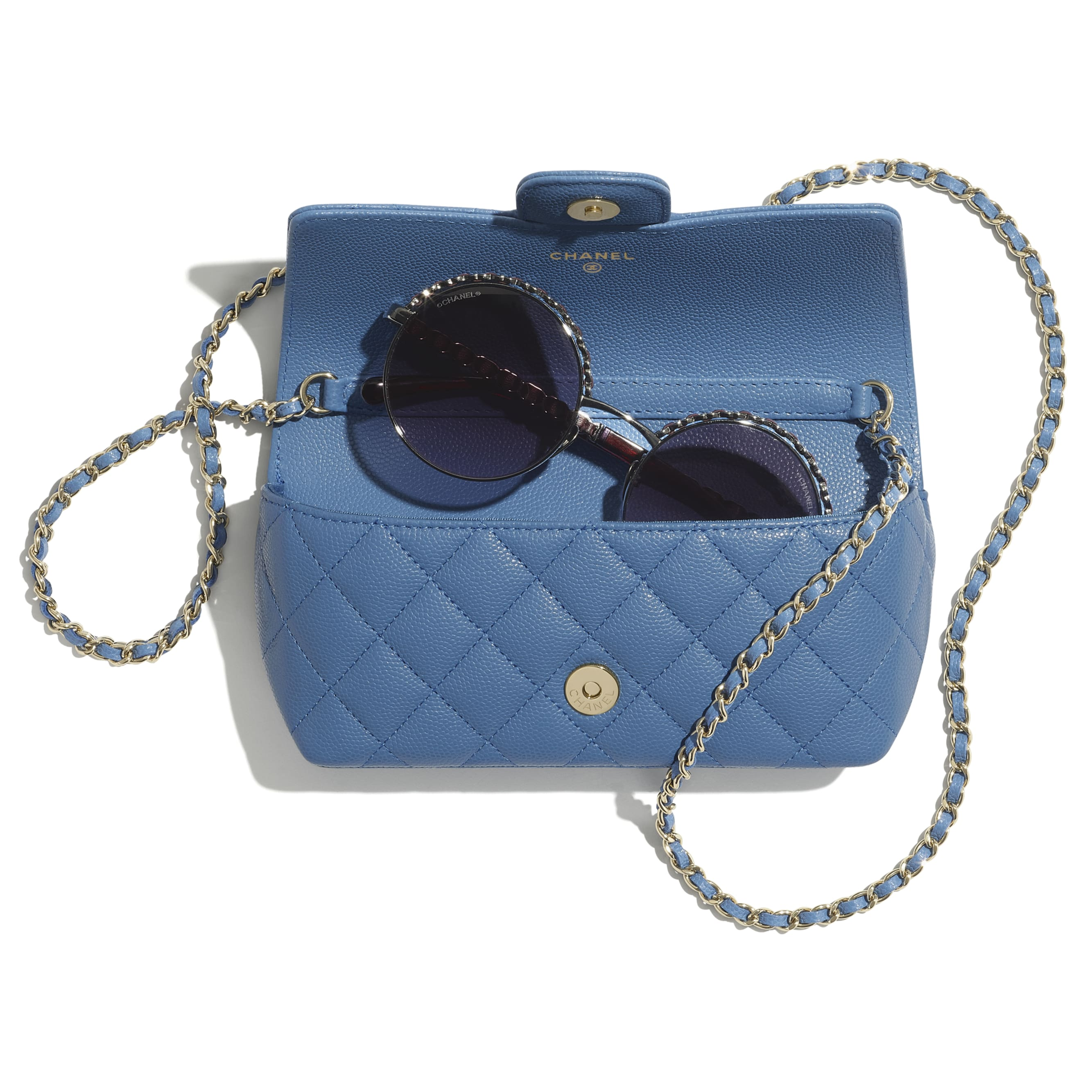 Glasses Case with Classic Chain - Blue - Grained Calfskin & Gold-Tone Metal - CHANEL - Other view - see standard sized version