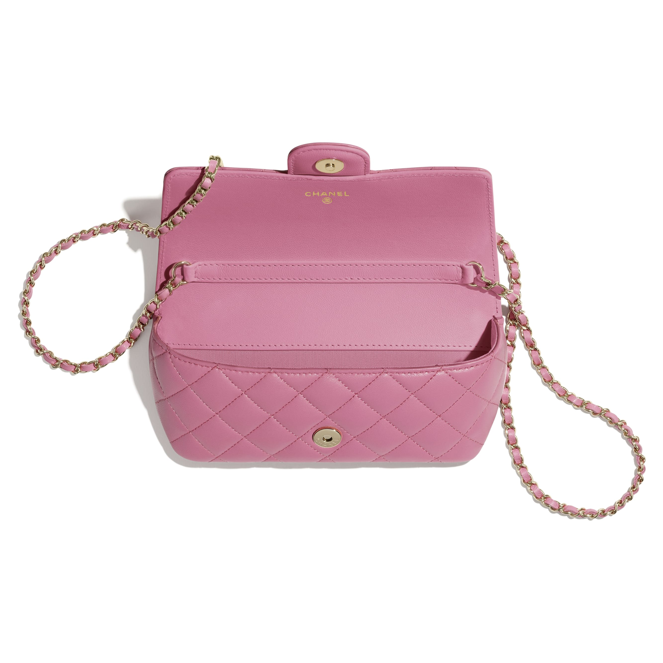 Glasses Case with Classic Chain - Pink - Lambskin - CHANEL - Alternative view - see standard sized version