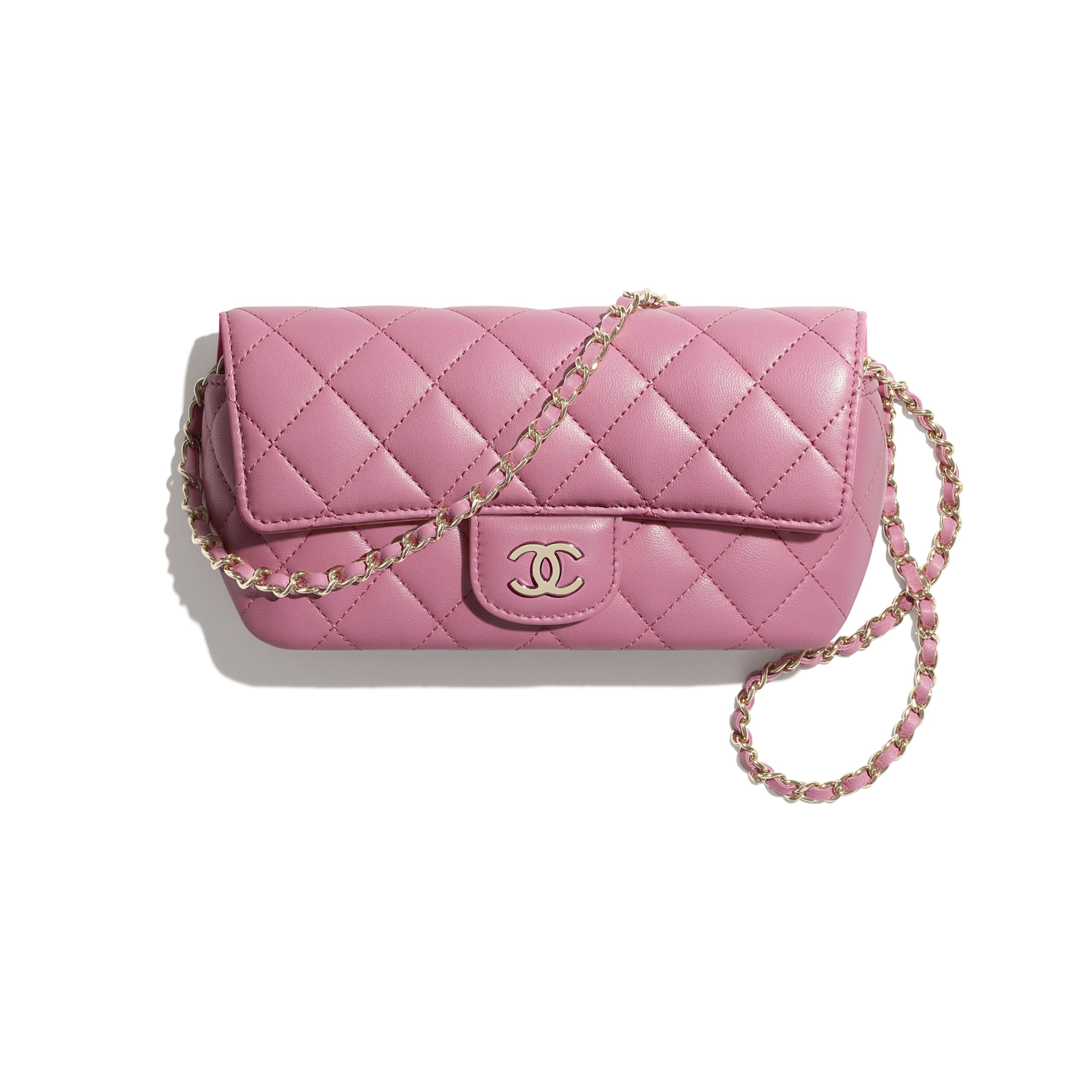 Glasses Case with Classic Chain - Pink - Lambskin - CHANEL - Default view - see standard sized version