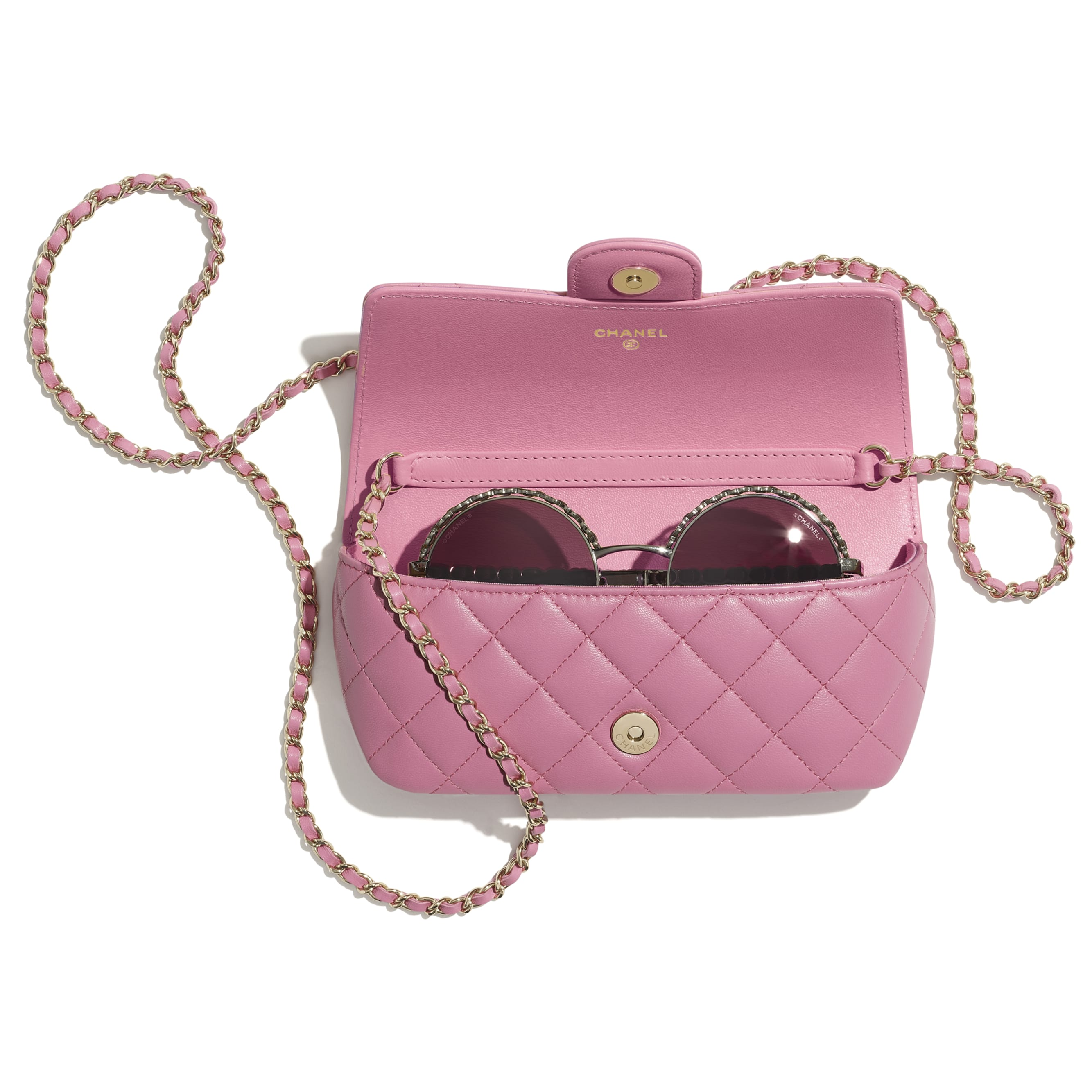 Glasses Case with Classic Chain - Pink - Lambskin - CHANEL - Other view - see standard sized version