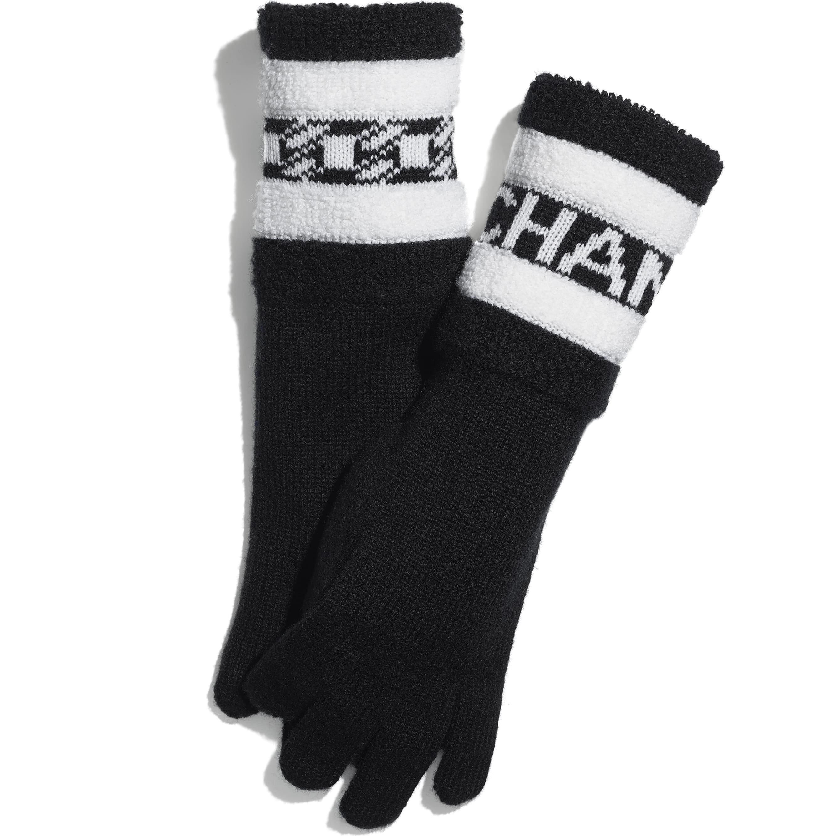 Gloves - Black & Ecru - Cashmere - CHANEL - Default view - see standard sized version