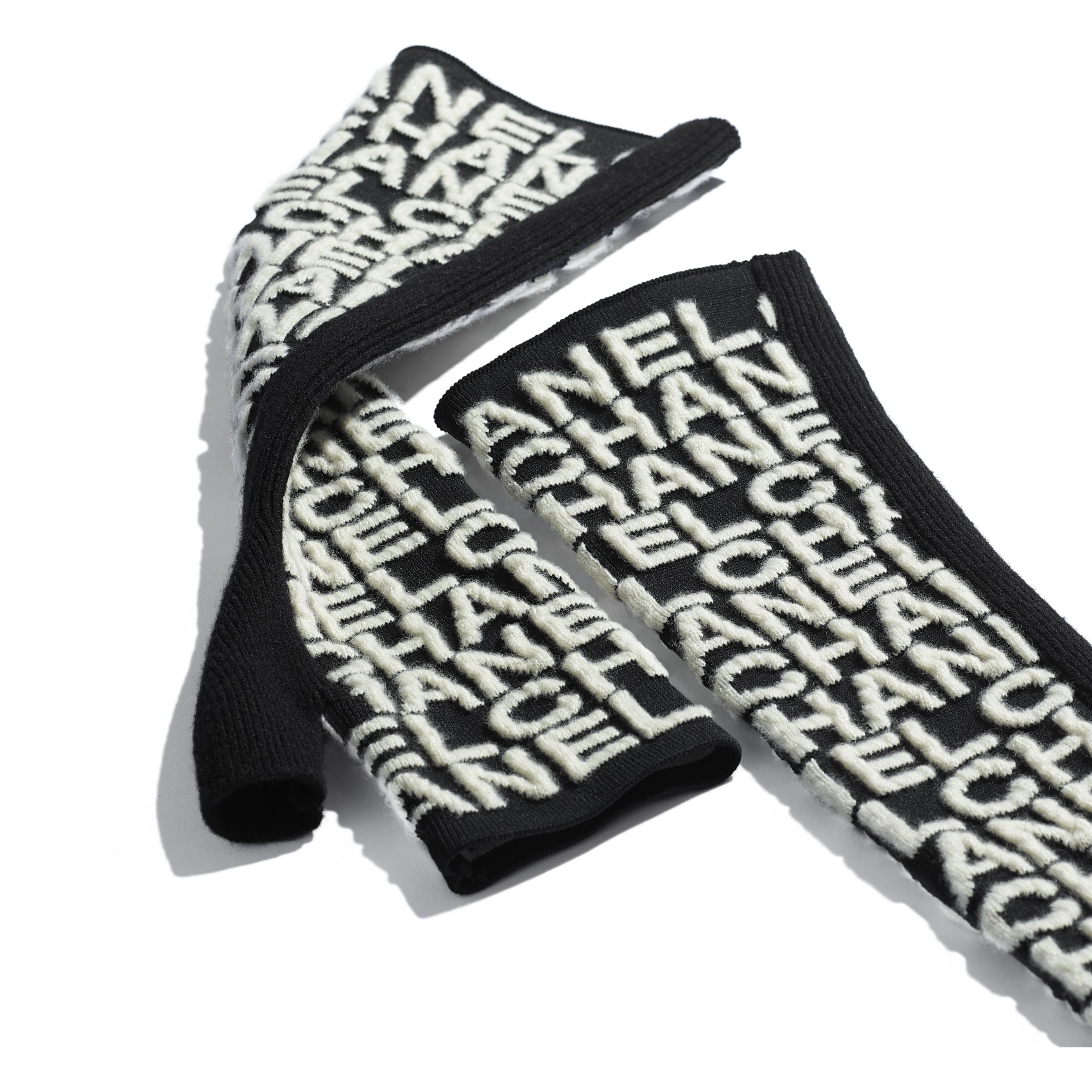 Gloves - Black & Ivory - Cashmere & Mixed Fibres - Alternative view - see standard sized version