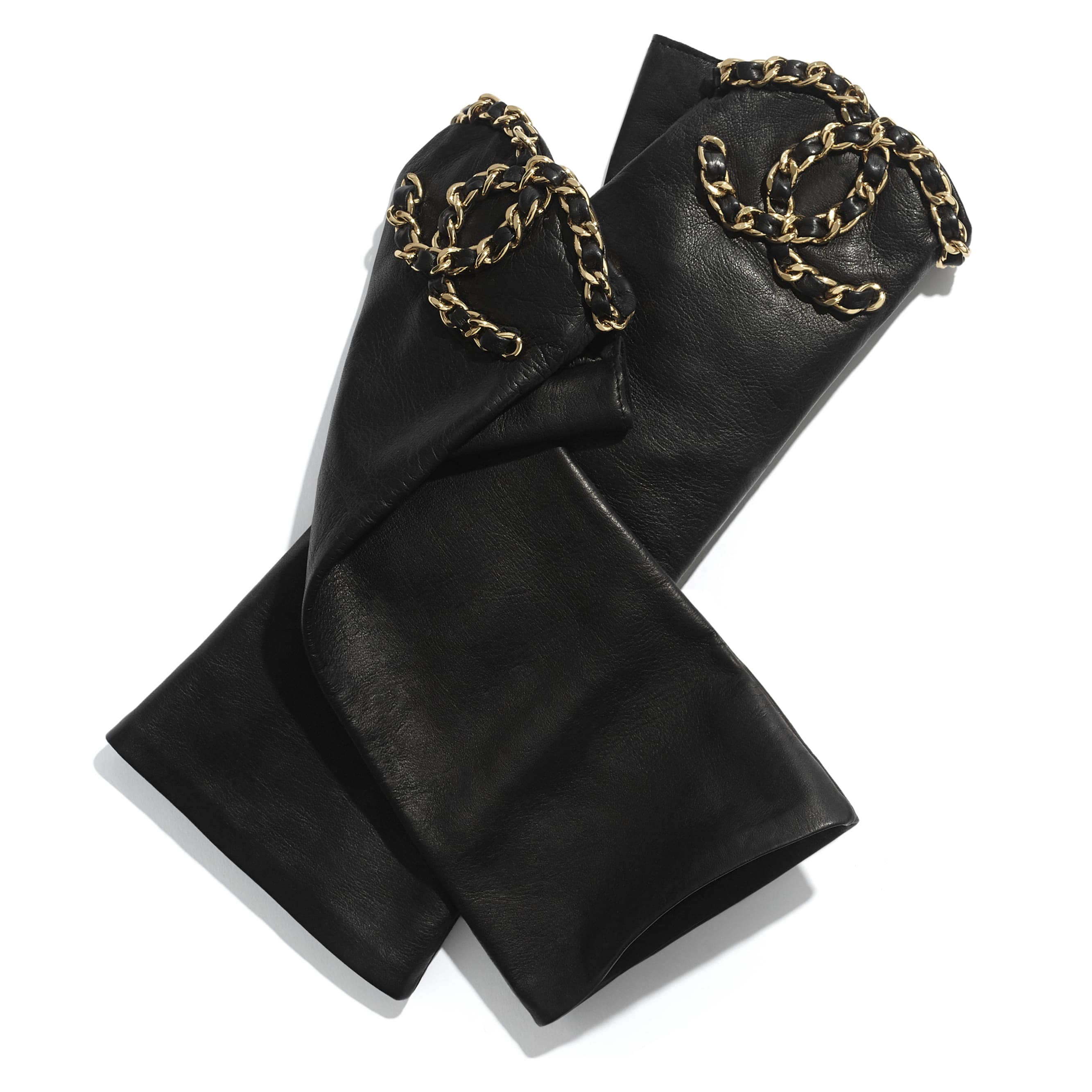 Gloves - Black - Lambskin & Gold-Tone Metal - CHANEL - Default view - see standard sized version