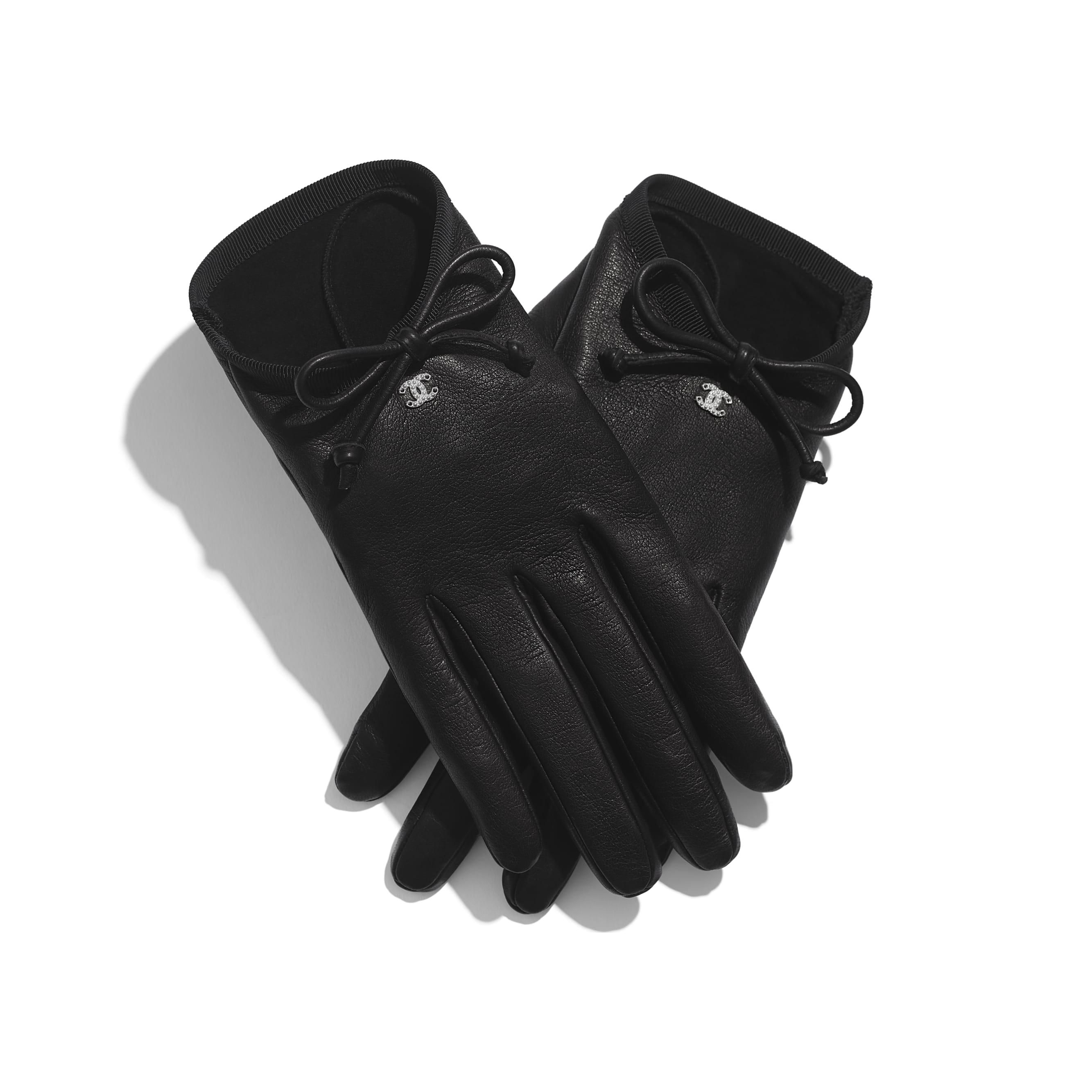 Gloves - Black - Lambskin & Grosgrain - Alternative view - see standard sized version