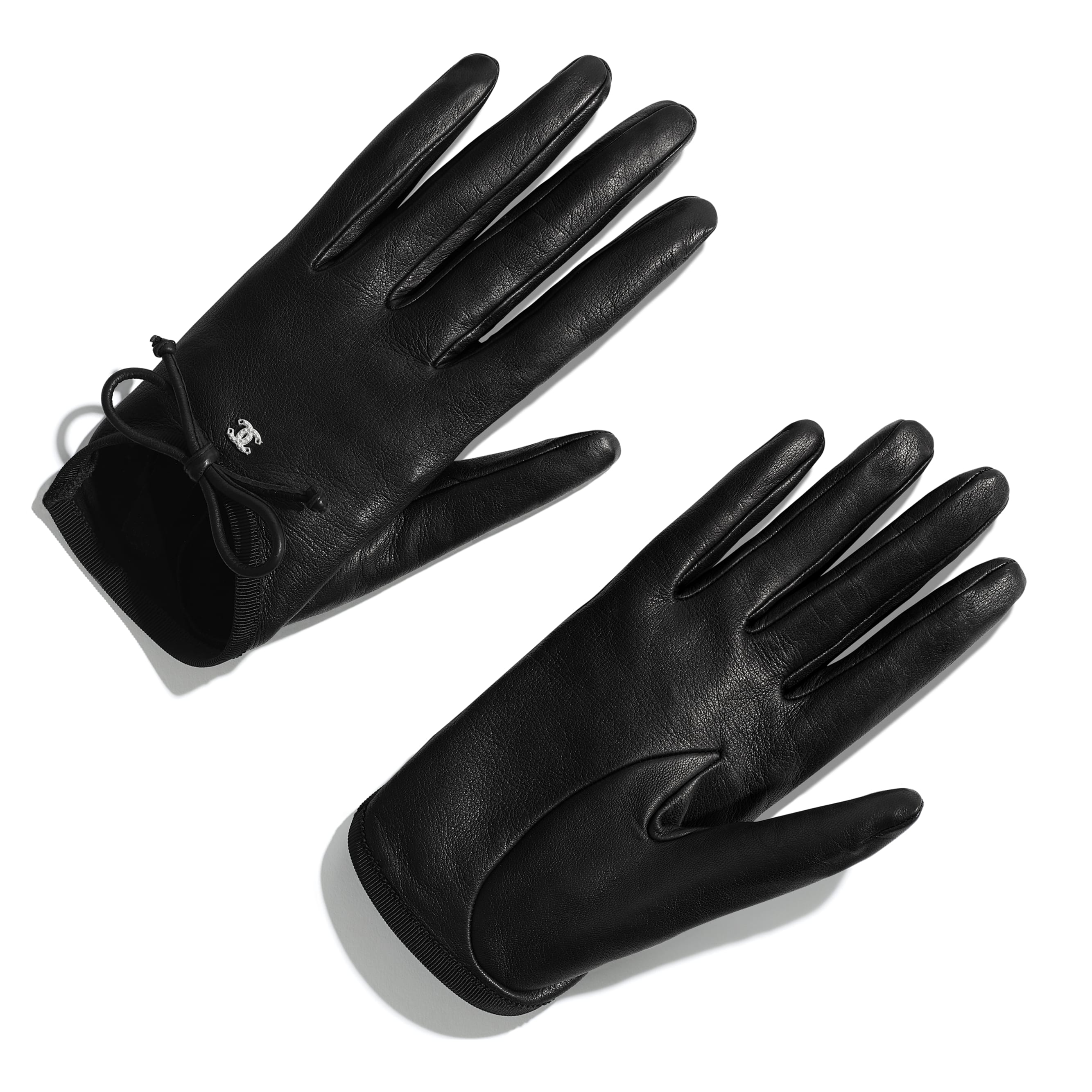 Gloves - Black - Lambskin & Grosgrain - Default view - see standard sized version