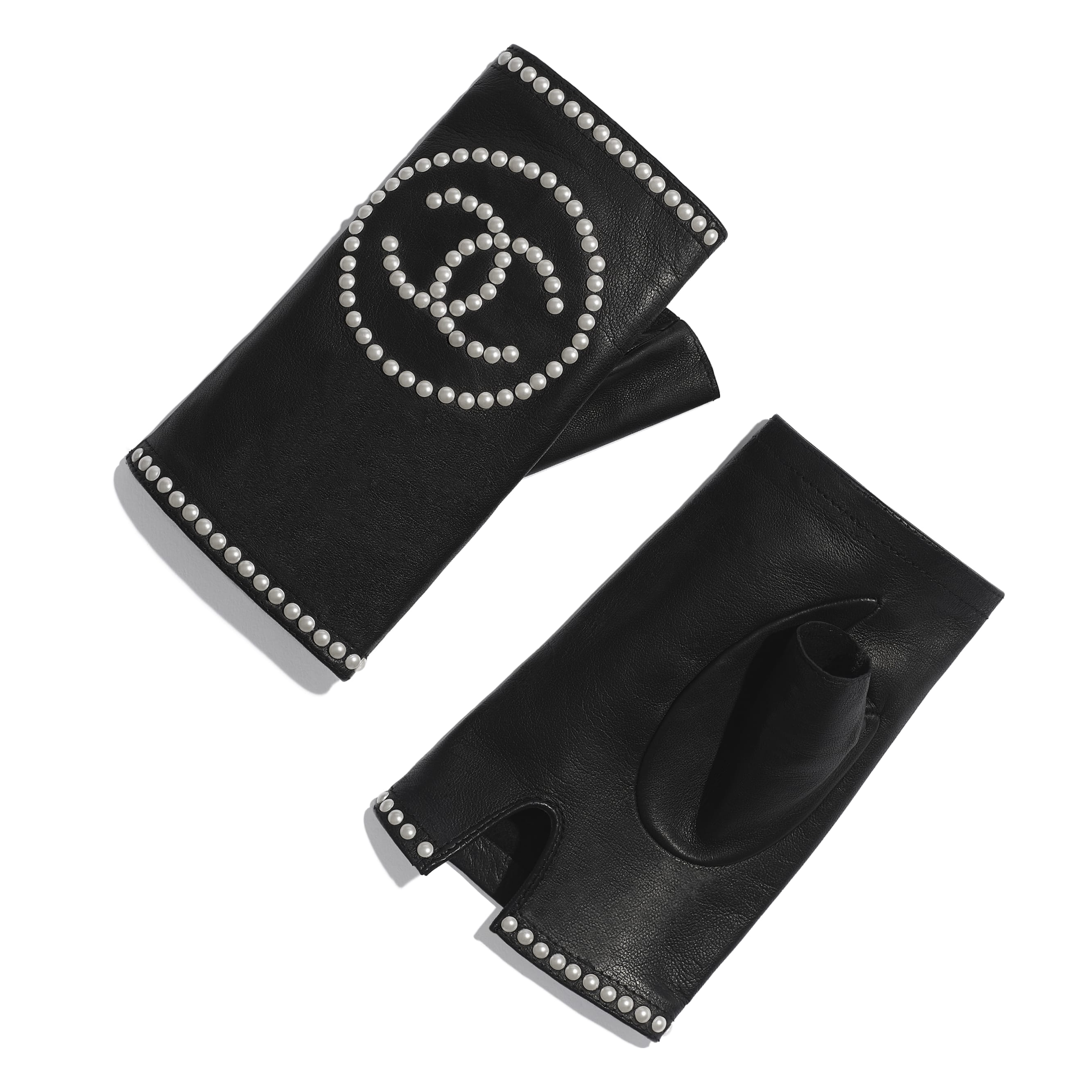 Gloves - Black - Lambskin & Pearls - Default view - see standard sized version