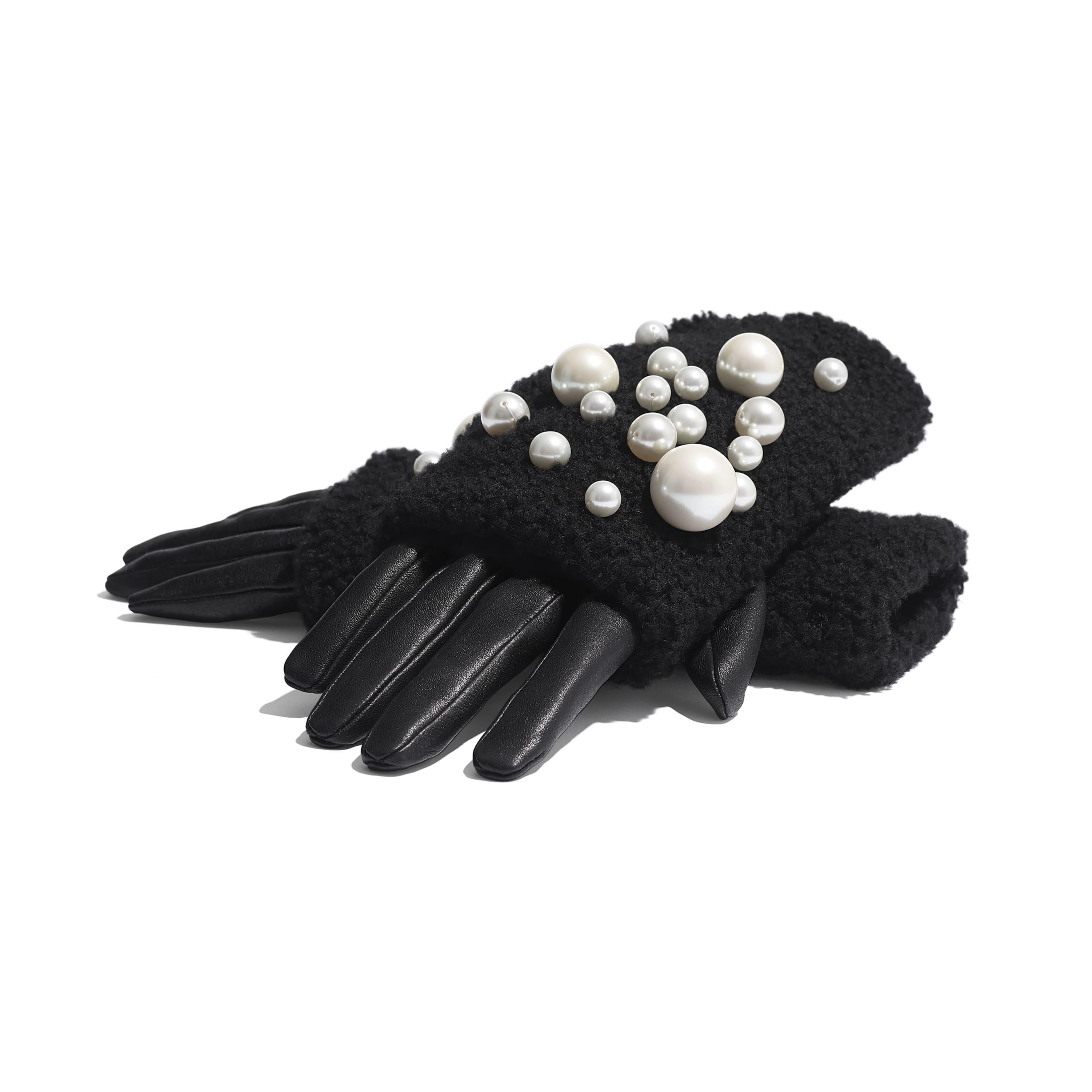 Gloves - Black - Lambskin, Shearling & Pearls - Alternative view - see standard sized version