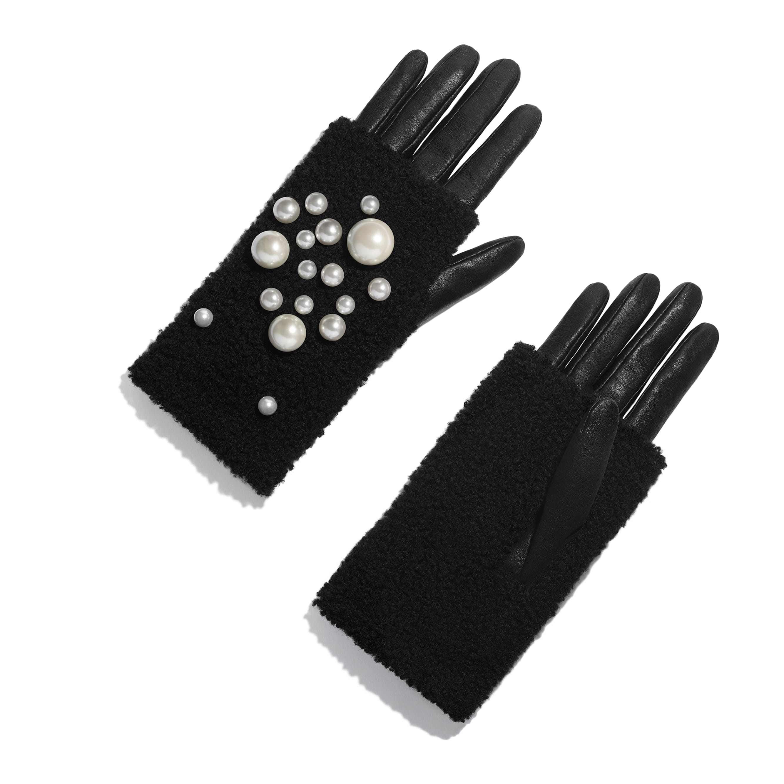 Gloves - Black - Lambskin, Shearling & Pearls - Default view - see standard sized version