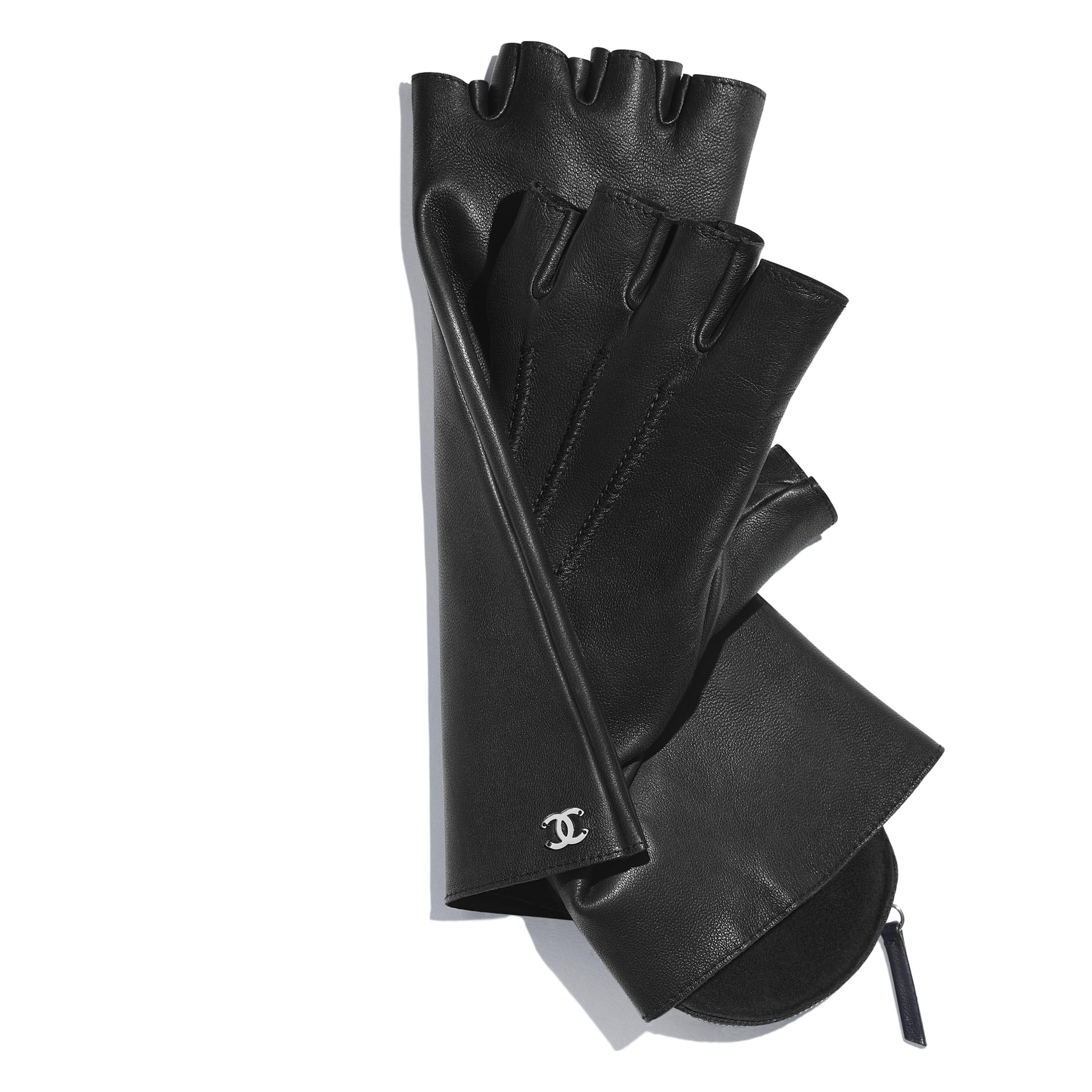 Gloves - Black - Lambskin & Silver-Tone Metal - Alternative view - see standard sized version