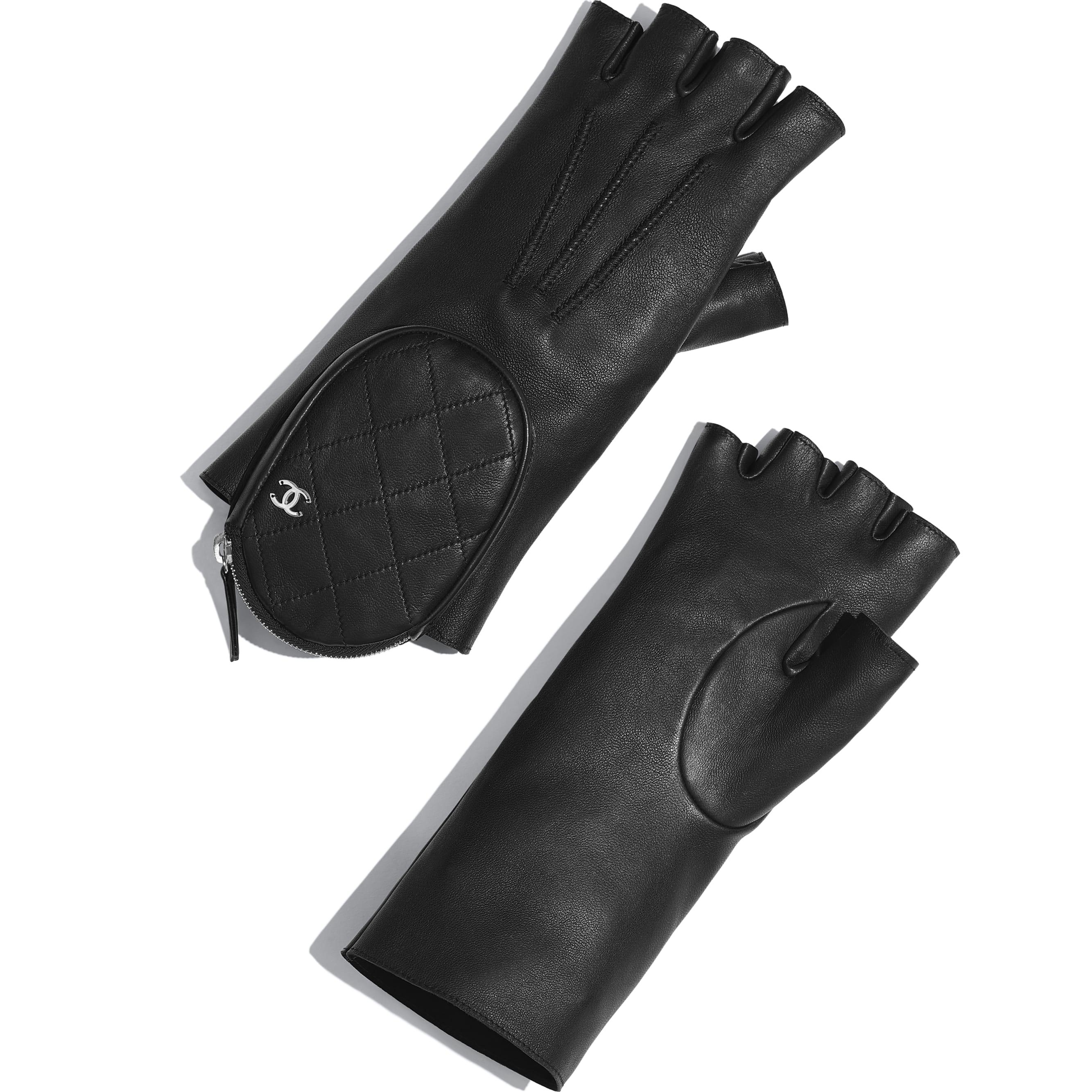 Gloves - Black - Lambskin & Silver-Tone Metal - Default view - see standard sized version