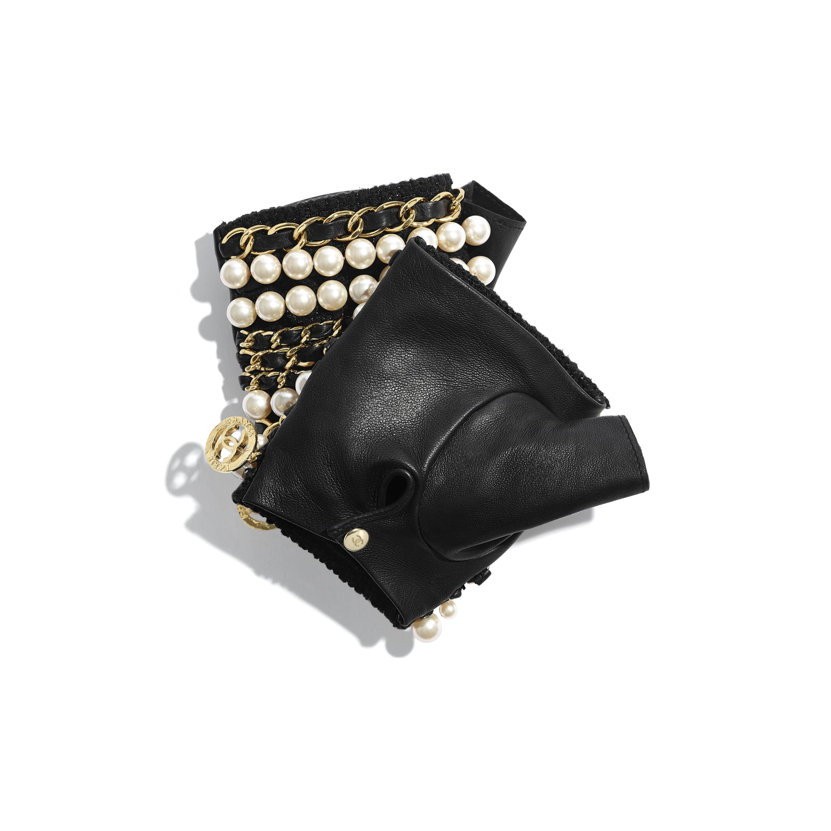 Gloves - Black & Pearly White - Lambskin, Glass Pearls & Gold-Tone Metal - CHANEL - Alternative view - see standard sized version