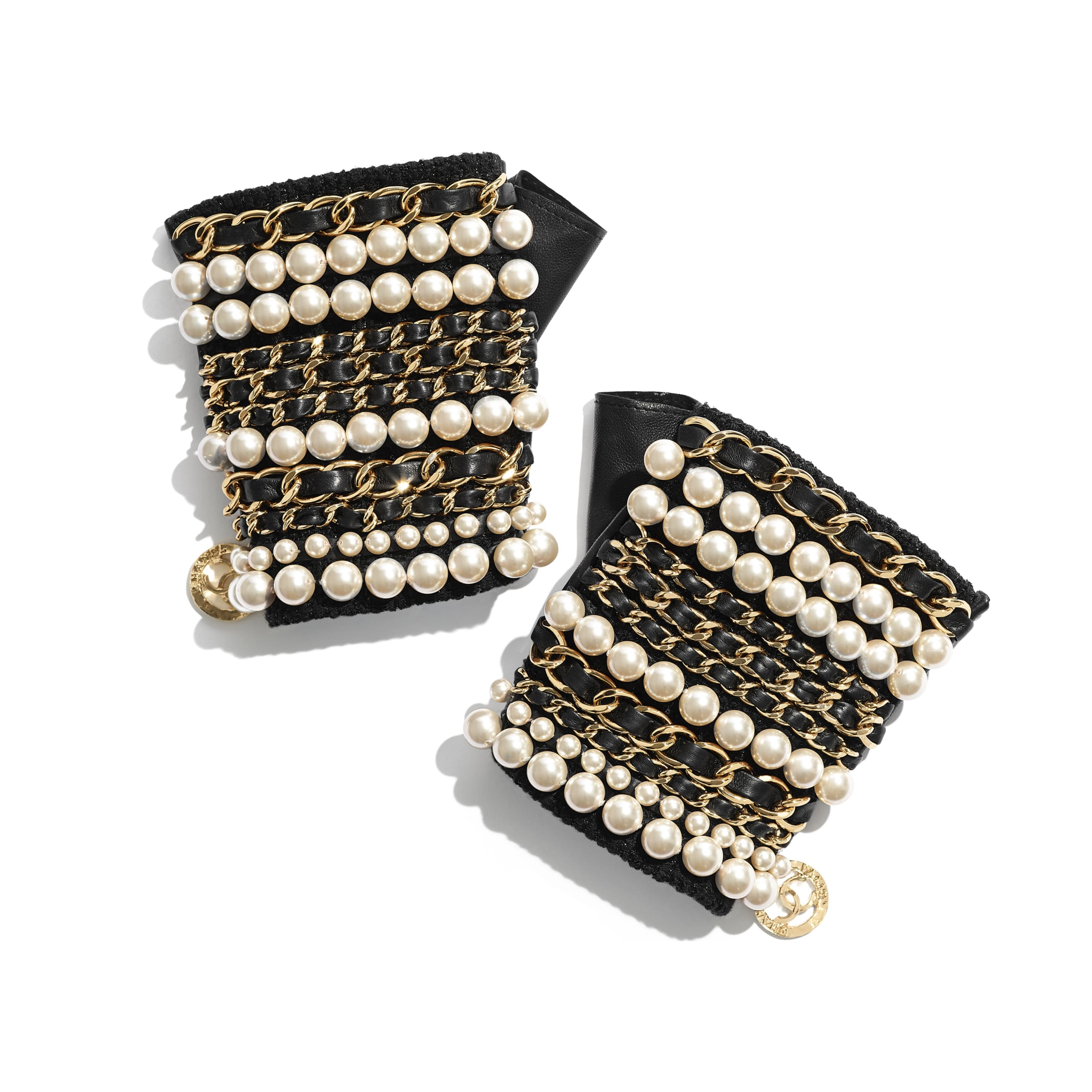 Gloves - Black & Pearly White - Lambskin, Glass Pearls & Gold-Tone Metal - CHANEL - Default view - see standard sized version