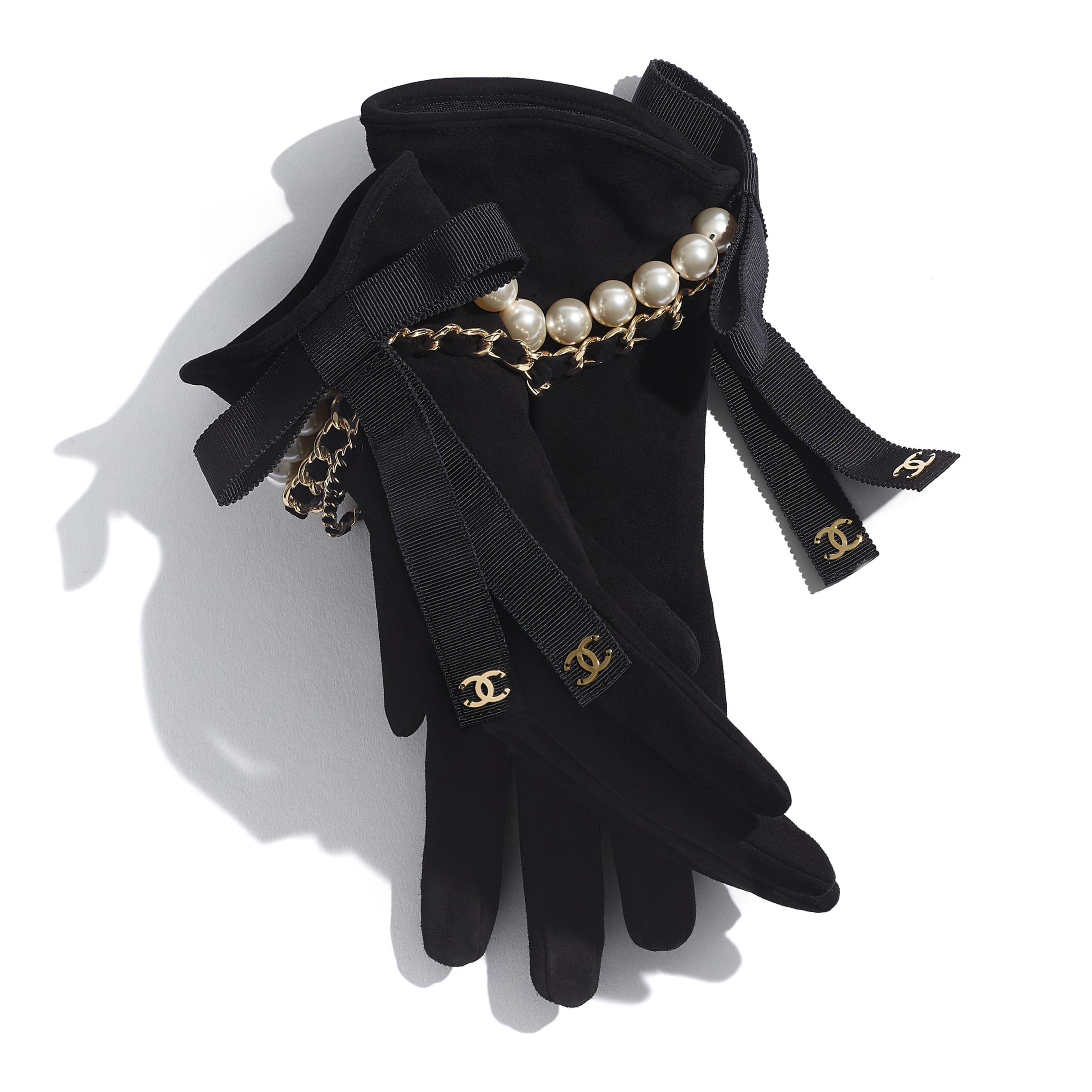Gloves - Black - Suede Lambskin, Glass Pearls, Grosgrain & Gold-Tone Metal - CHANEL - Alternative view - see standard sized version