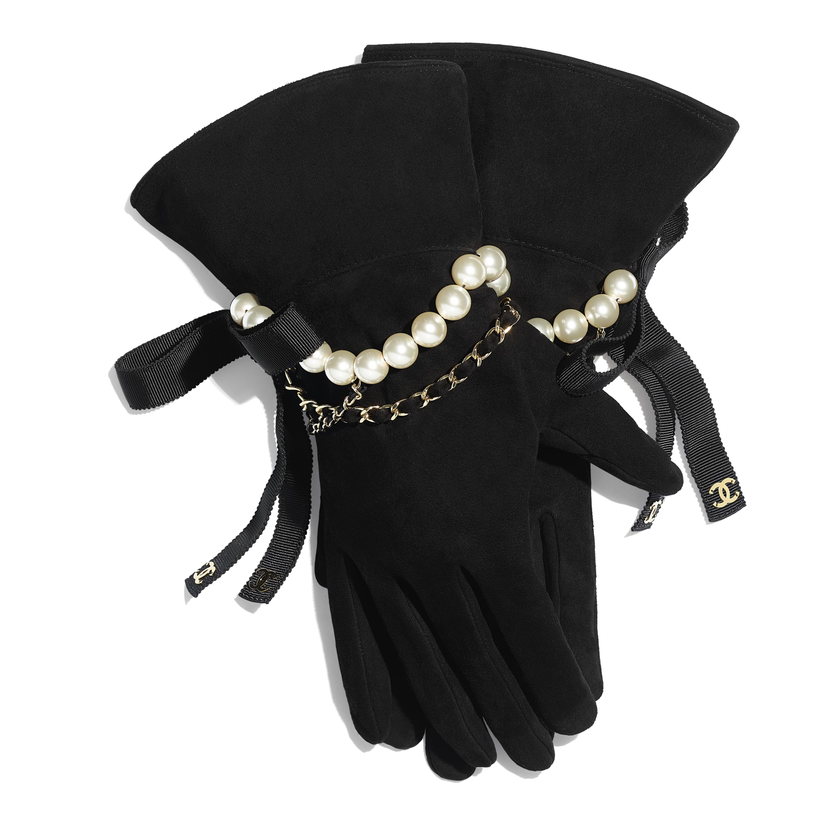 Gloves - Black - Suede Lambskin, Glass Pearls, Grosgrain & Gold-Tone Metal - CHANEL - Default view - see standard sized version