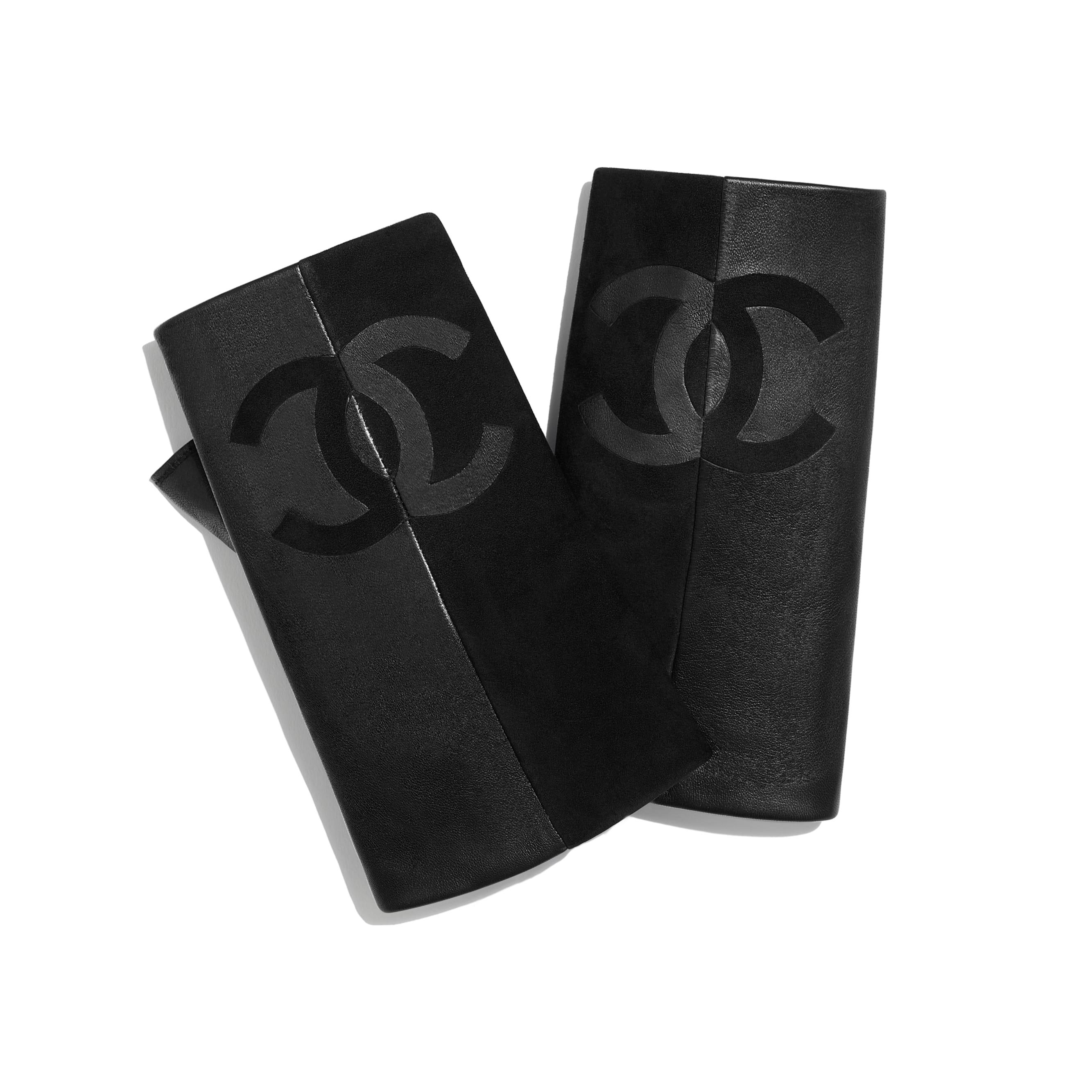 Gloves - Black - Suede Lambskin & Lambskin - Default view - see standard sized version