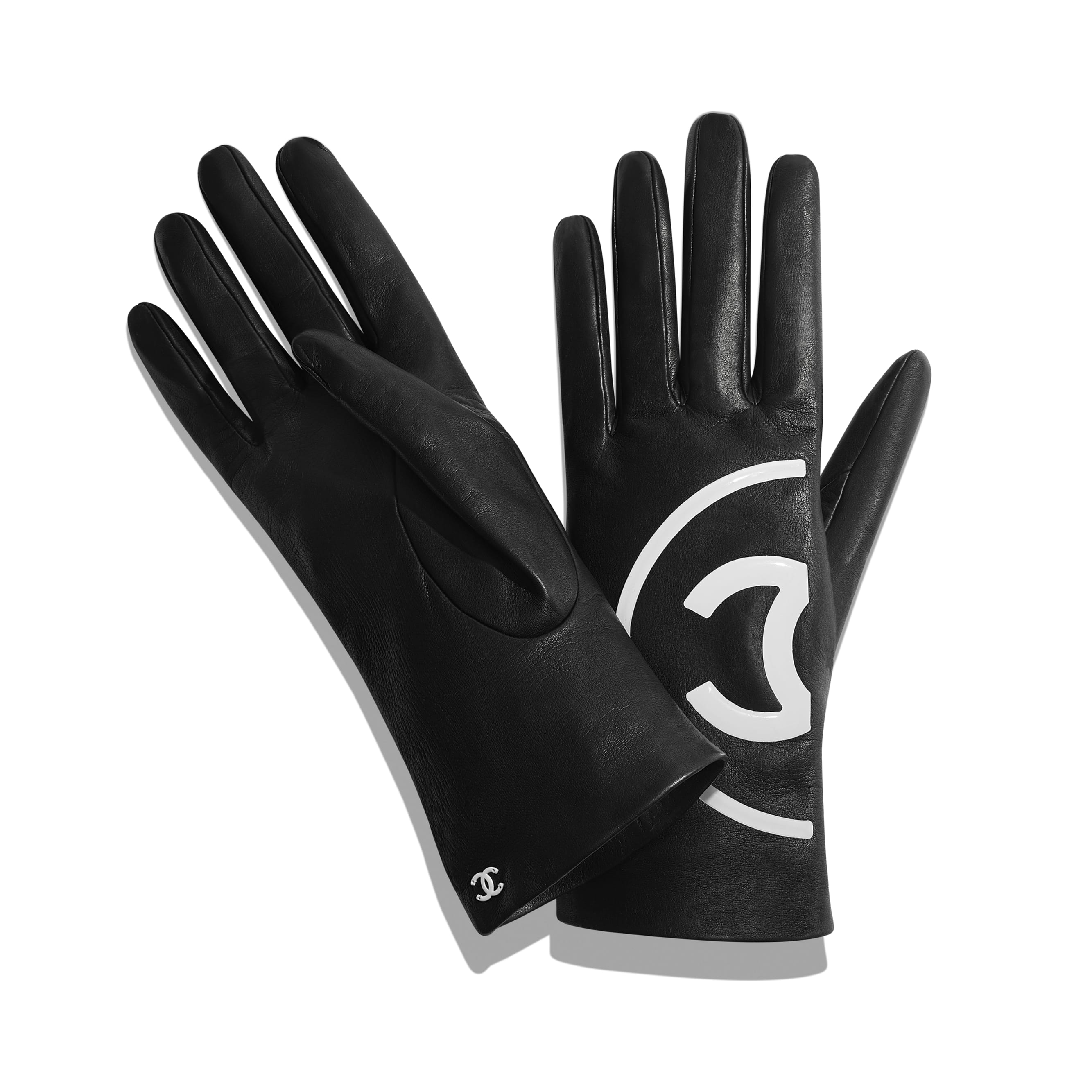Gloves - Black & White - Lambskin - Alternative view - see standard sized version