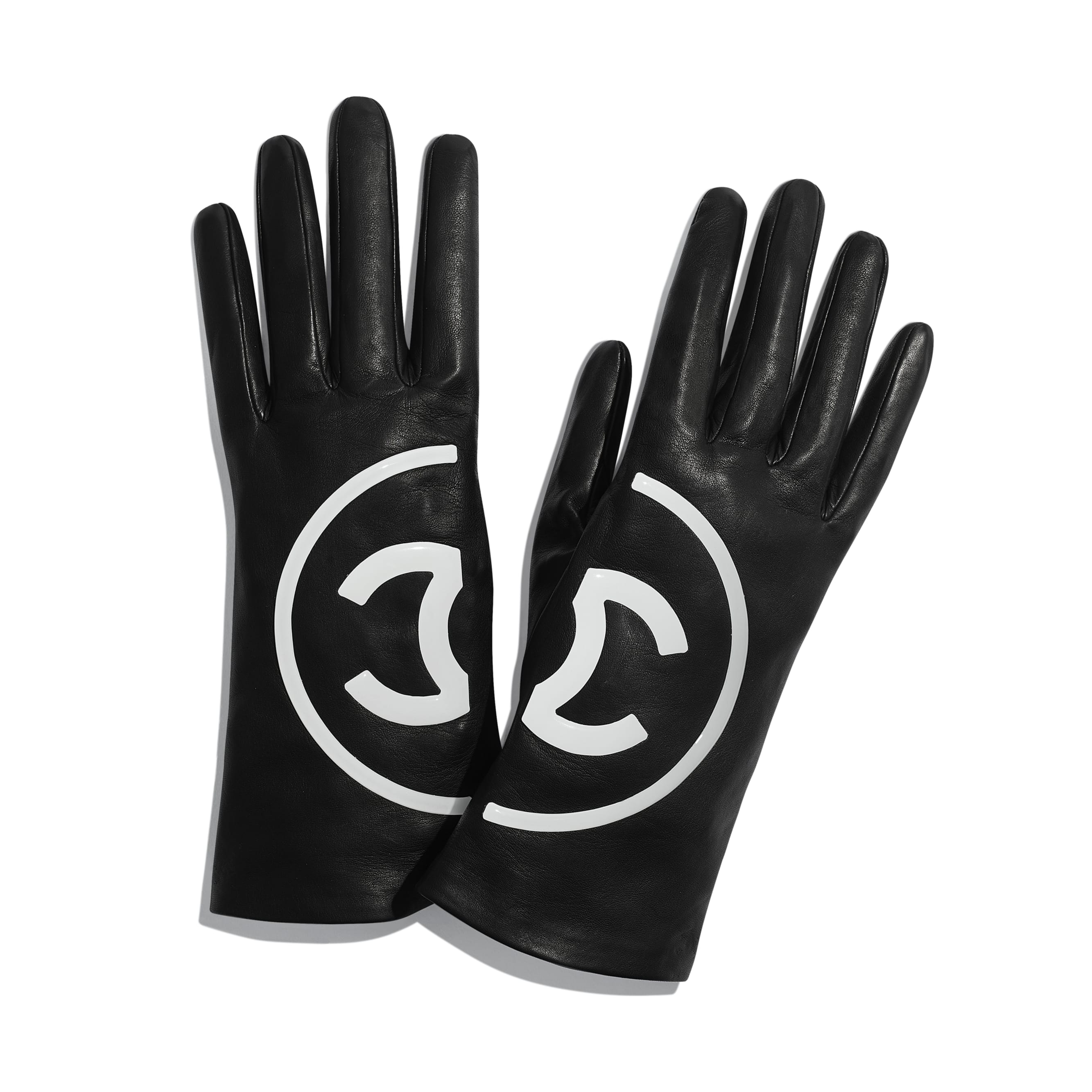 Gloves - Black & White - Lambskin - Default view - see standard sized version