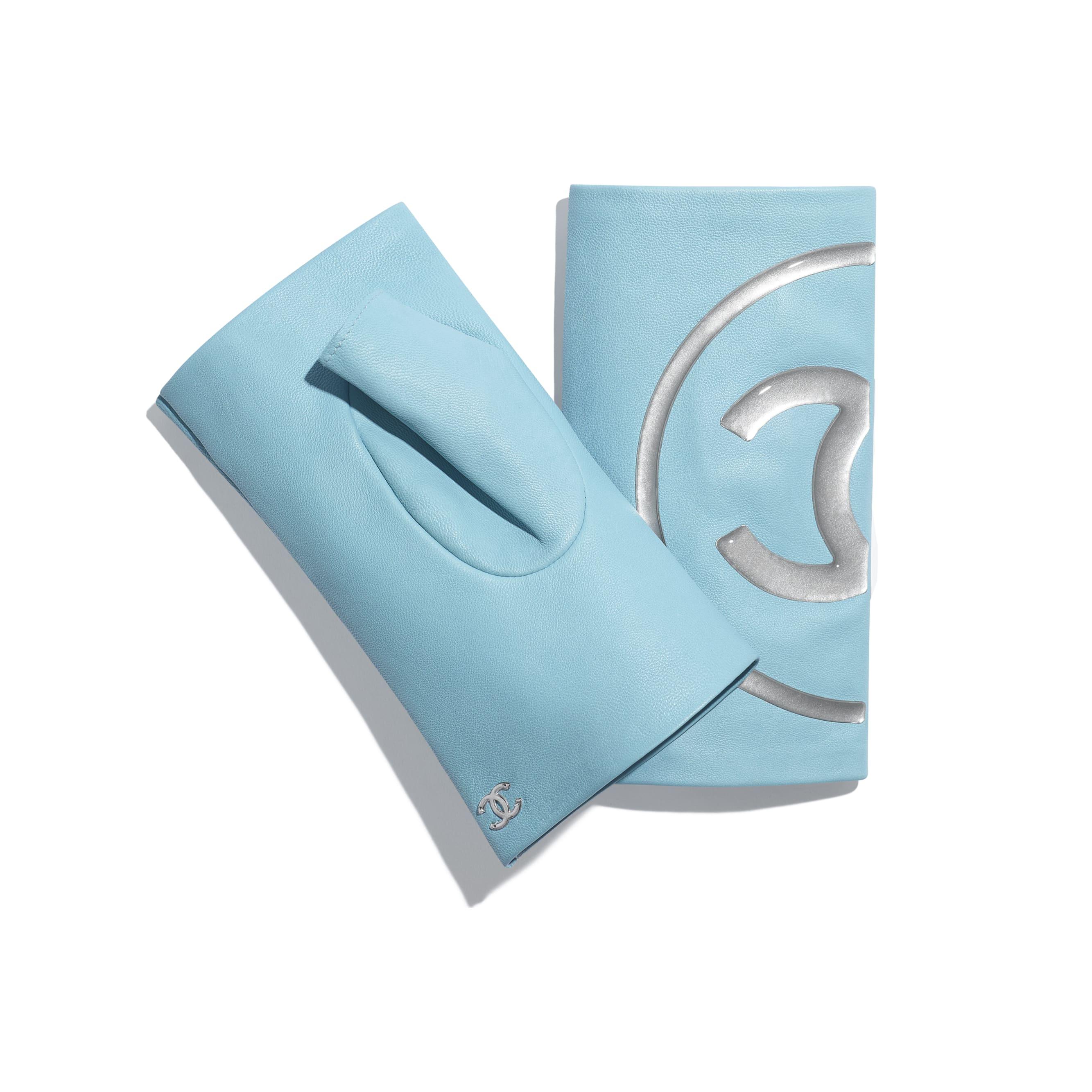 Gloves - Blue & Grey - Lambskin - Alternative view - see standard sized version