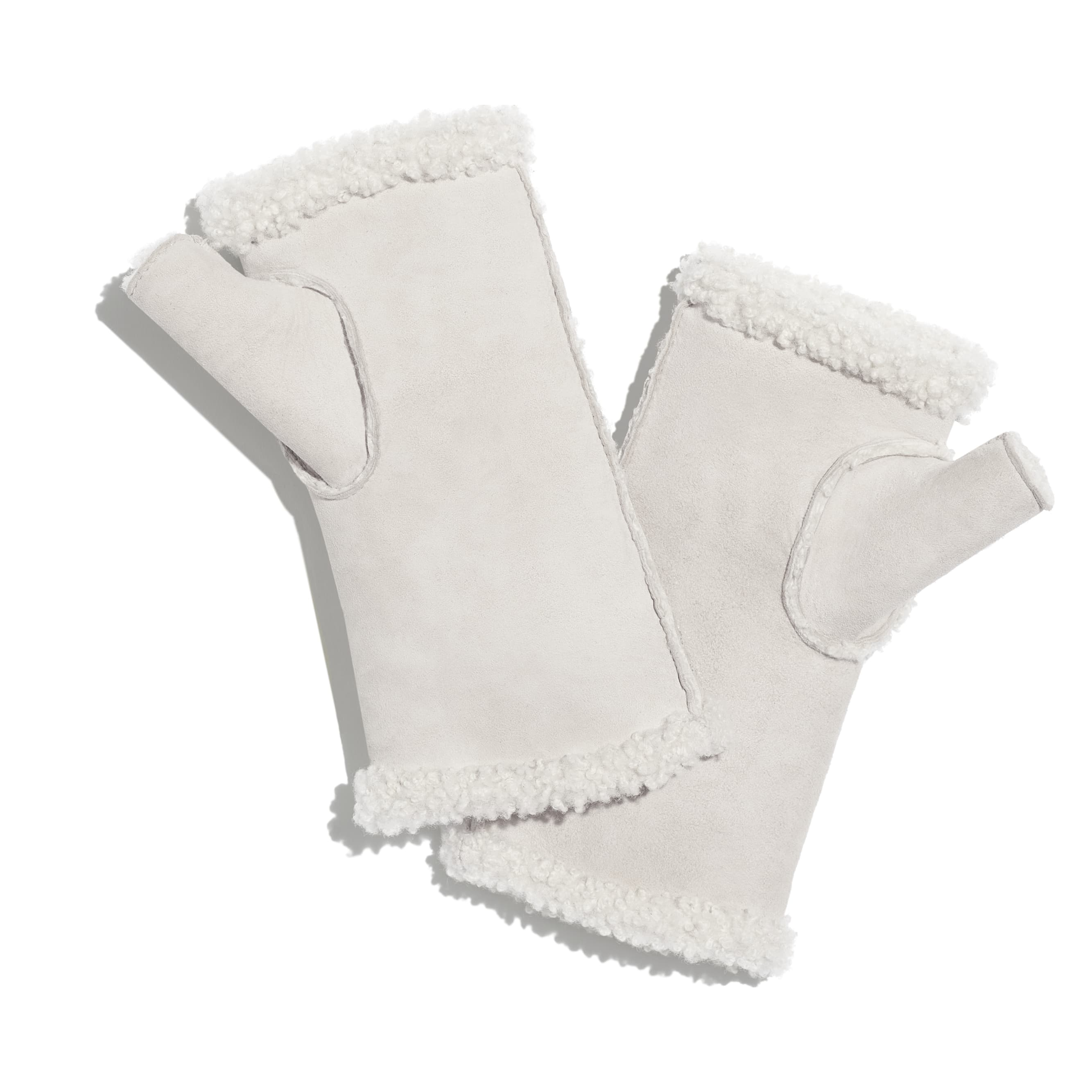 Gloves - Ivory - Shearling & Strass - Alternative view - see standard sized version