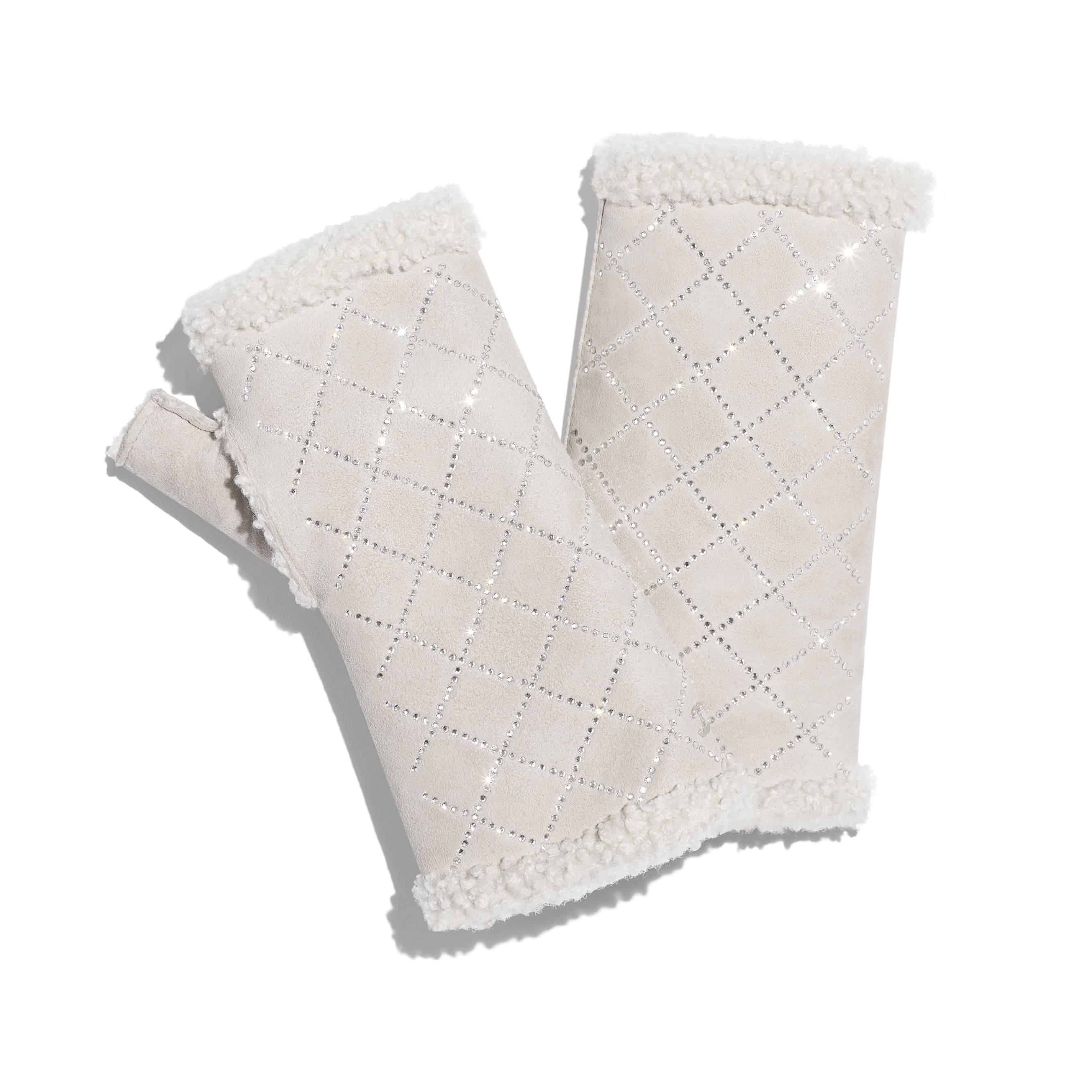 手套 - 象牙白 - 雙面剪羊毛 & 水鑽 - 預設視圖 - 查看標準尺寸版本