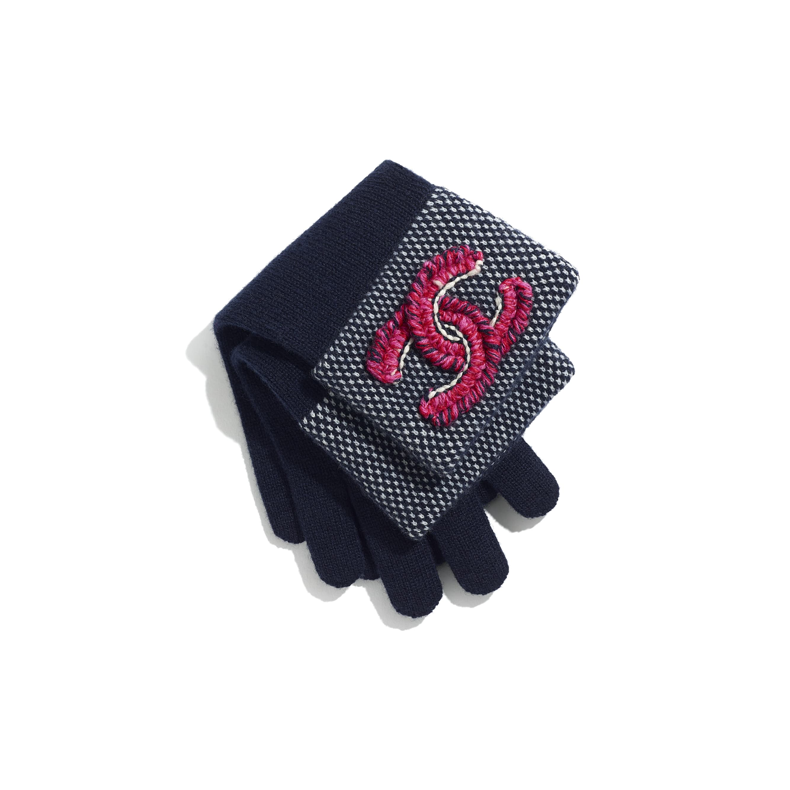 Gloves - Navy Blue & Fuchsia - Cashmere & Wool - CHANEL - Alternative view - see standard sized version