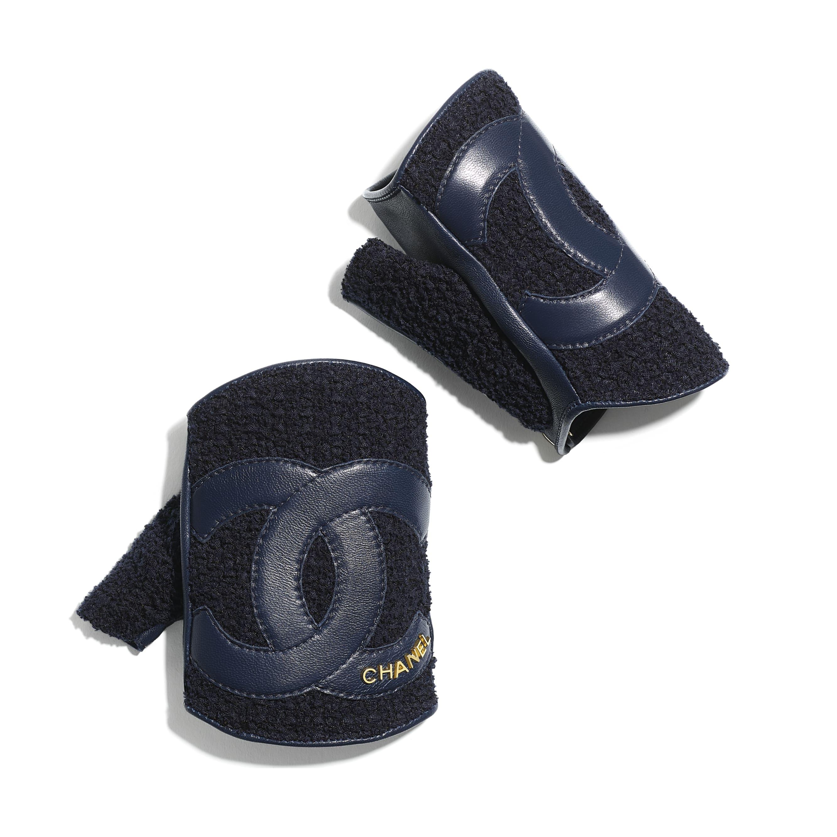 Gloves - Navy Blue - Tweed & Lambskin - CHANEL - Alternative view - see standard sized version